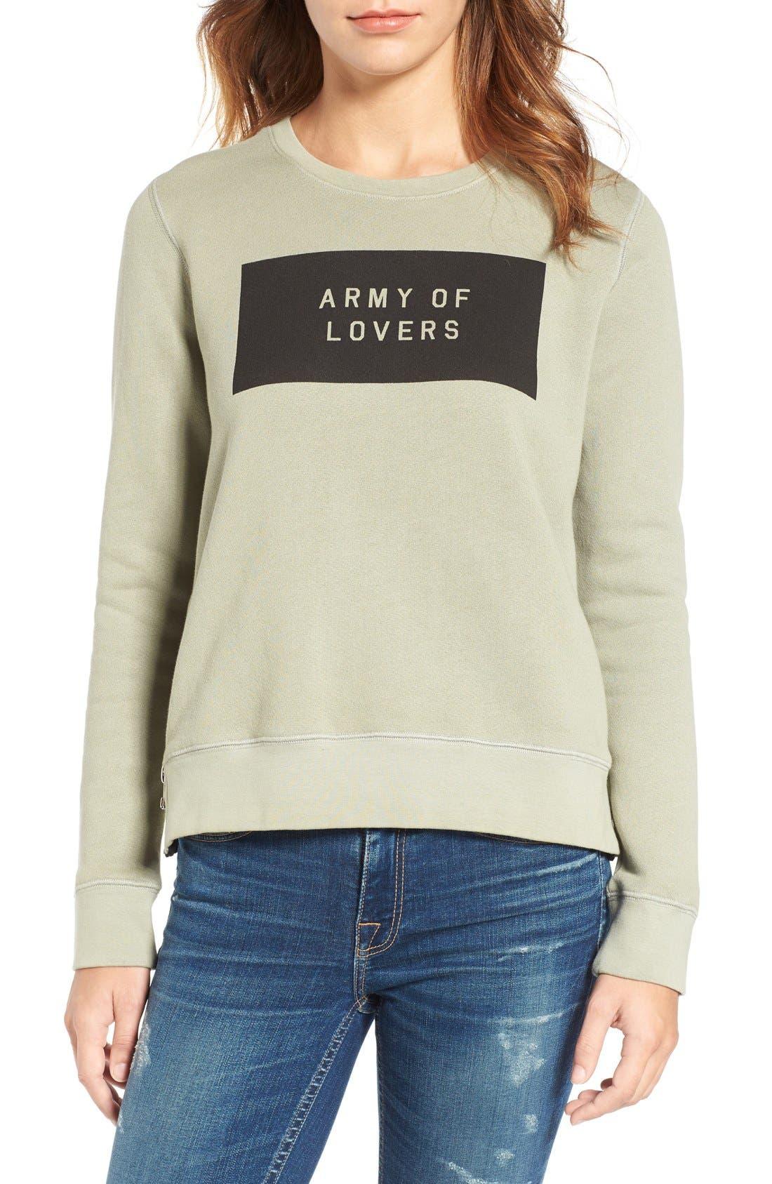 Army of Lovers Side Zip Sweatshirt,                             Main thumbnail 1, color,                             301