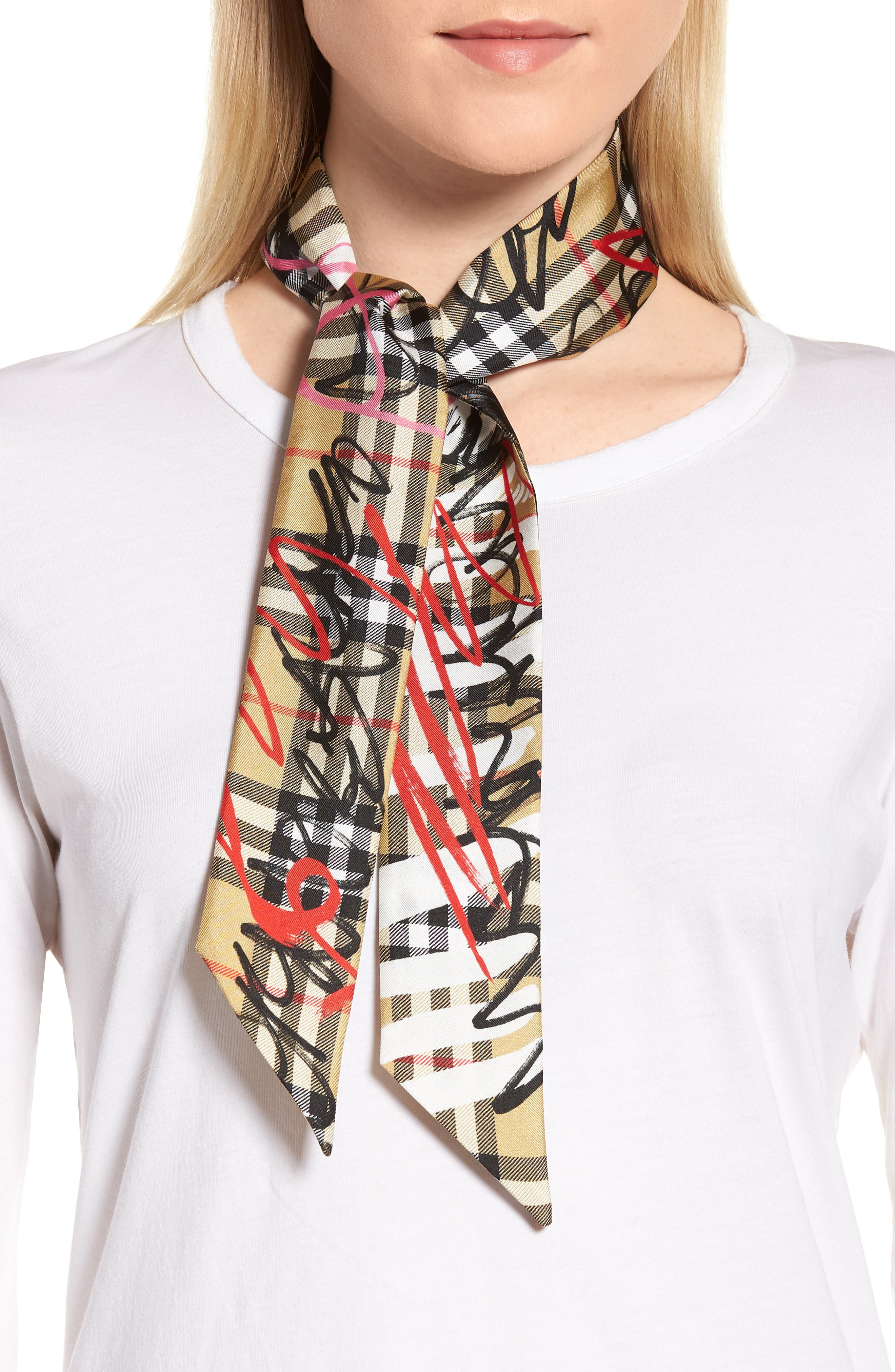 Scribble Vintage Check Silk Scarf,                             Alternate thumbnail 2, color,                             742