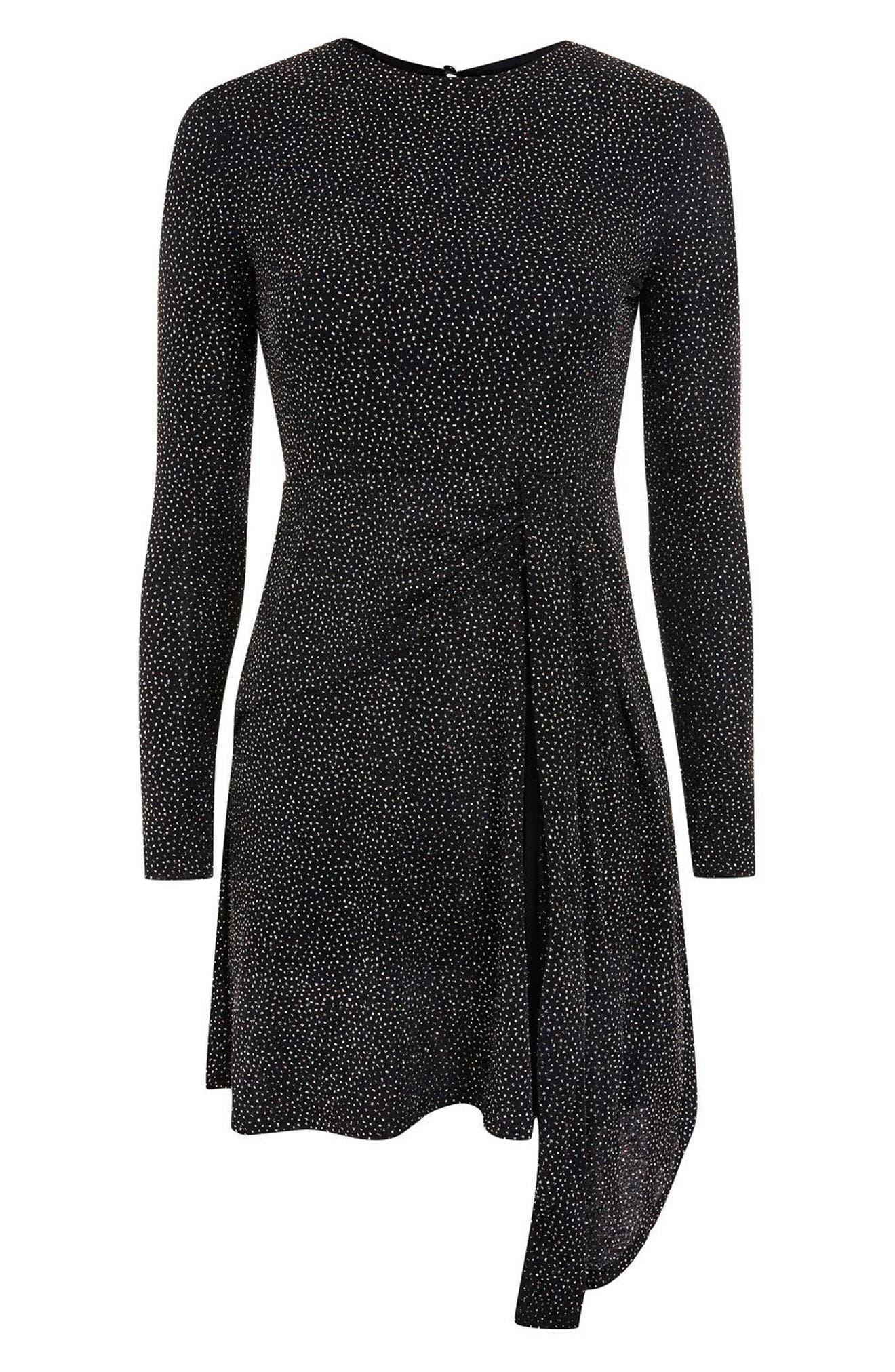 Asymmetrical Drape Glitter Dress,                             Alternate thumbnail 5, color,                             001