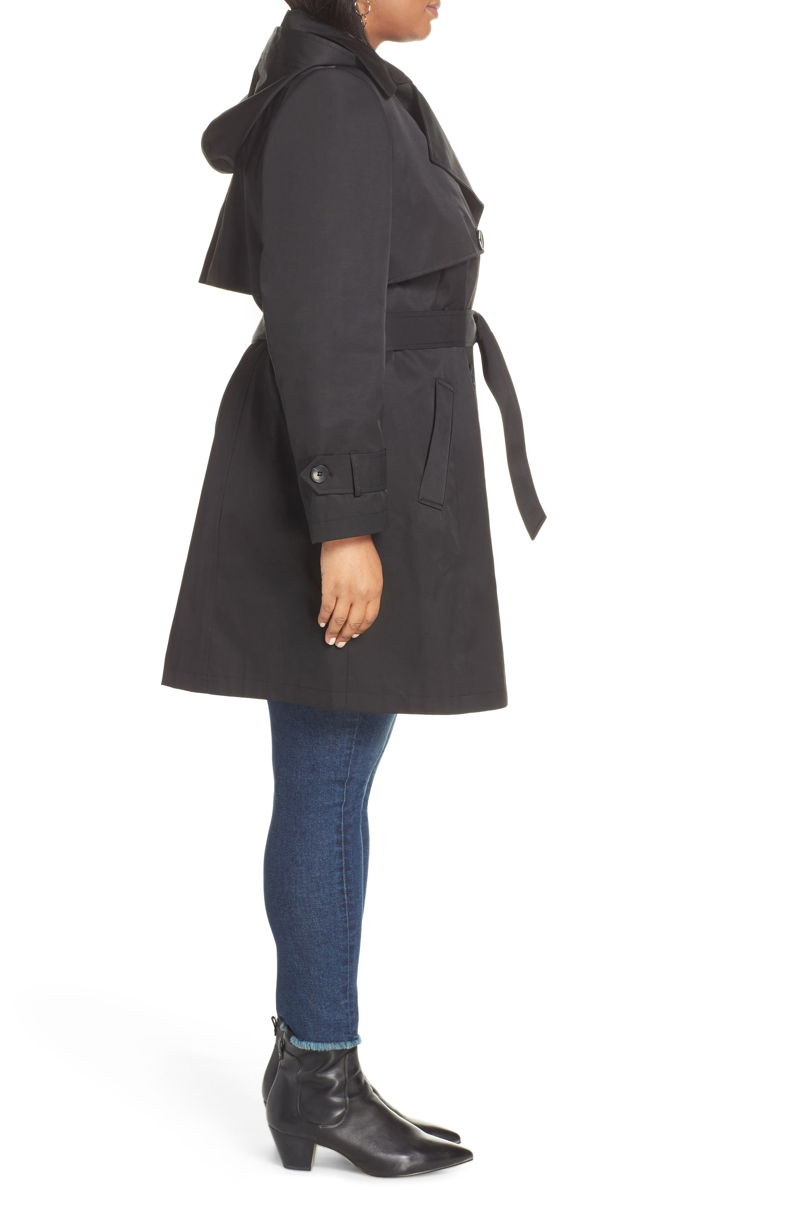 HALOGEN<SUP>®</SUP>,                             Double Breasted Hooded Trench Coat,                             Alternate thumbnail 3, color,                             BLACK