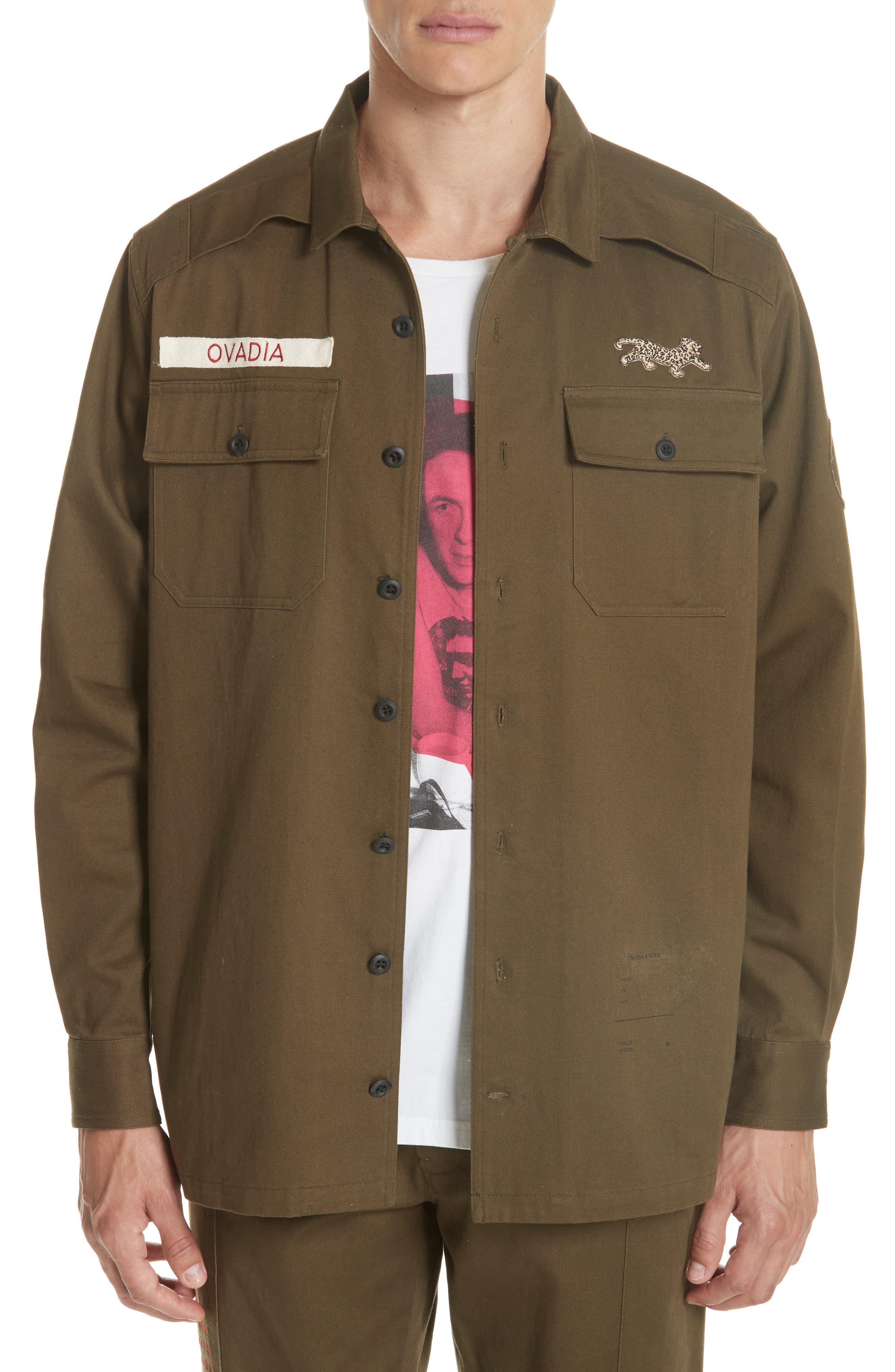 OVADIA & SONS,                             Military Woven Shirt,                             Main thumbnail 1, color,                             325