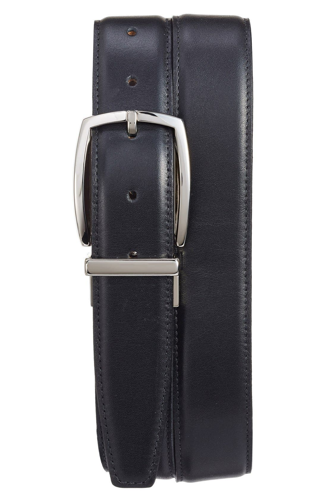 Reversible Leather Belt,                             Main thumbnail 1, color,                             BLACK/ BROWN