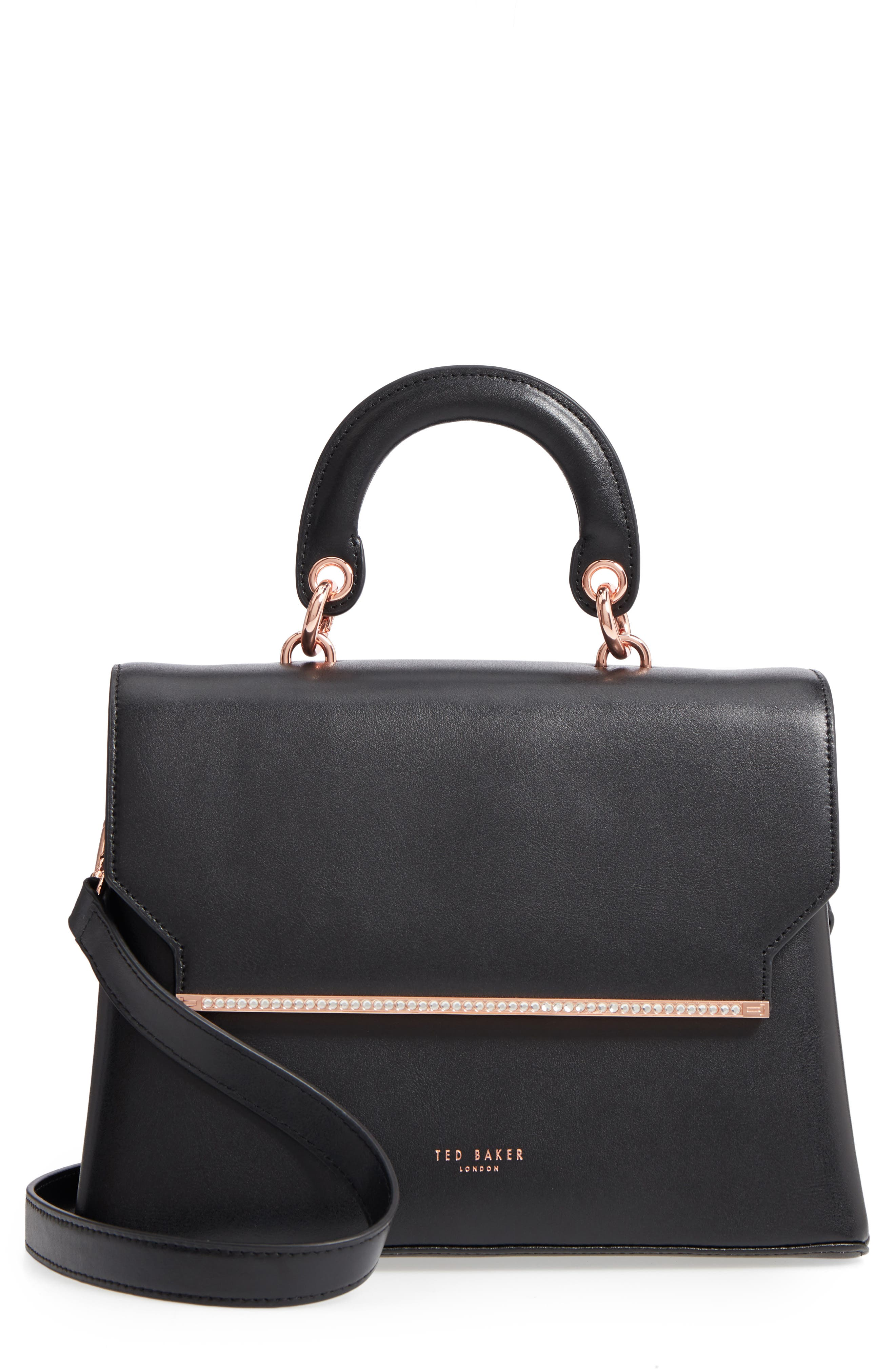 Crystal Bar Leather Top Handle Satchel,                         Main,                         color, 001