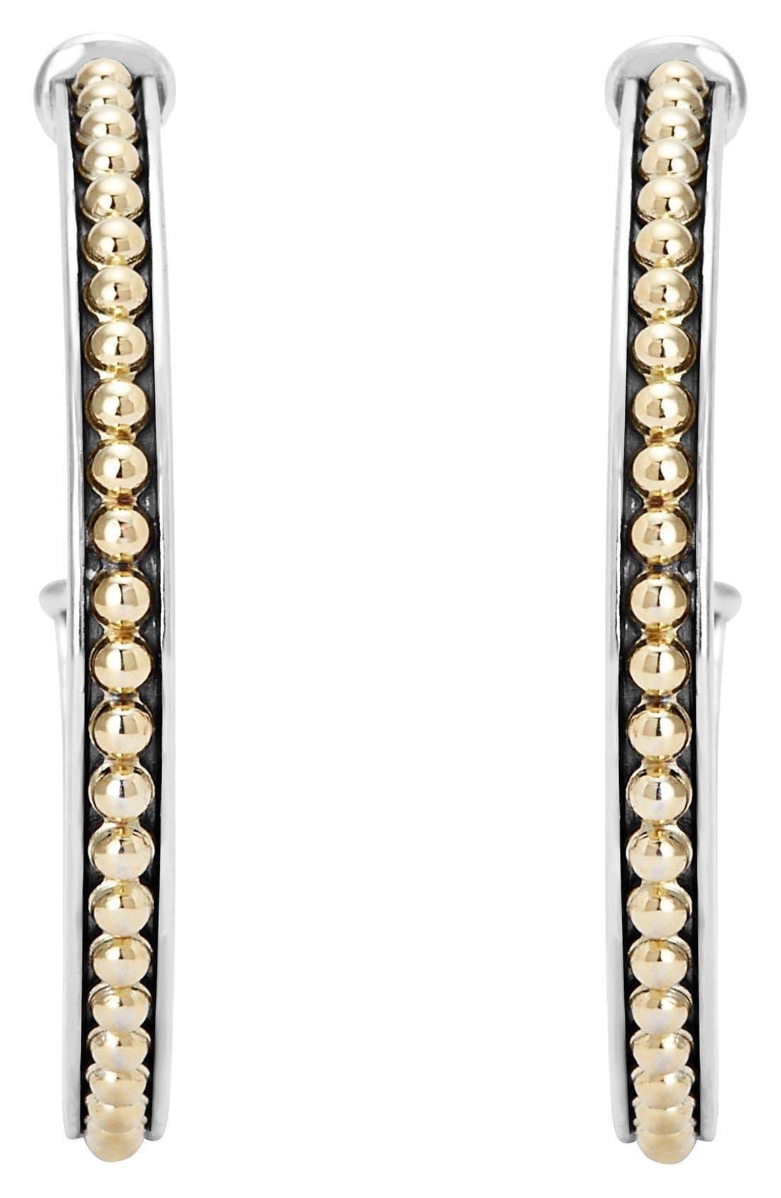 'Enso' Caviar Hoop Earrings,                             Alternate thumbnail 3, color,                             SILVER/ GOLD