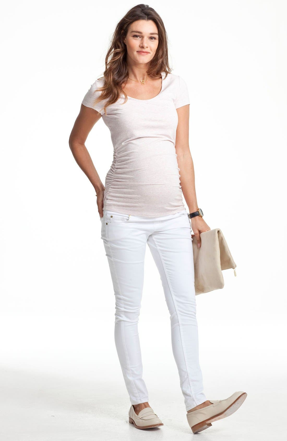 Scoop Neck Maternity Tee,                             Main thumbnail 1, color,                             PURE WHITE