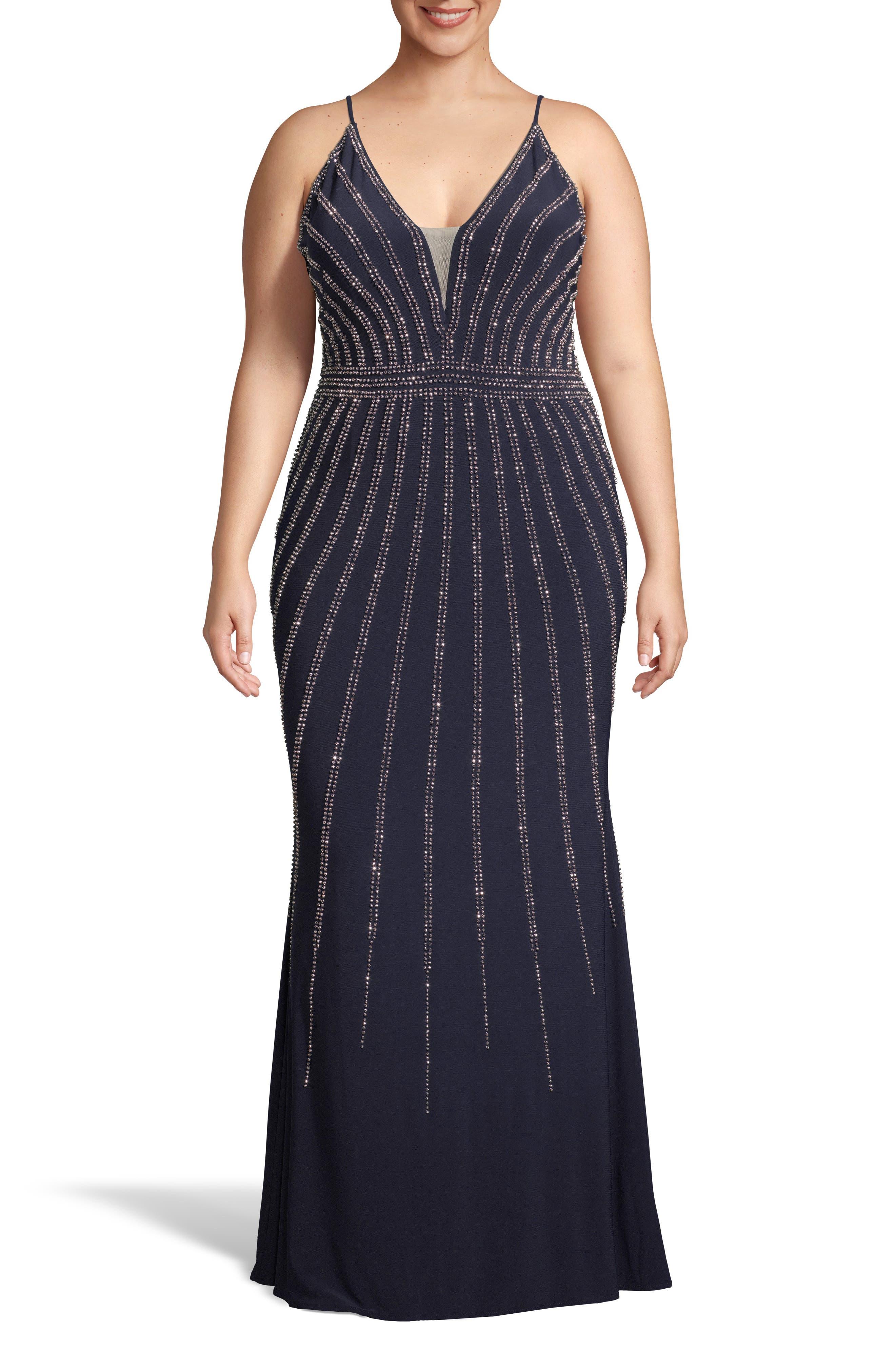 Plus Size Xscape Beaded Evening Dress, Blue