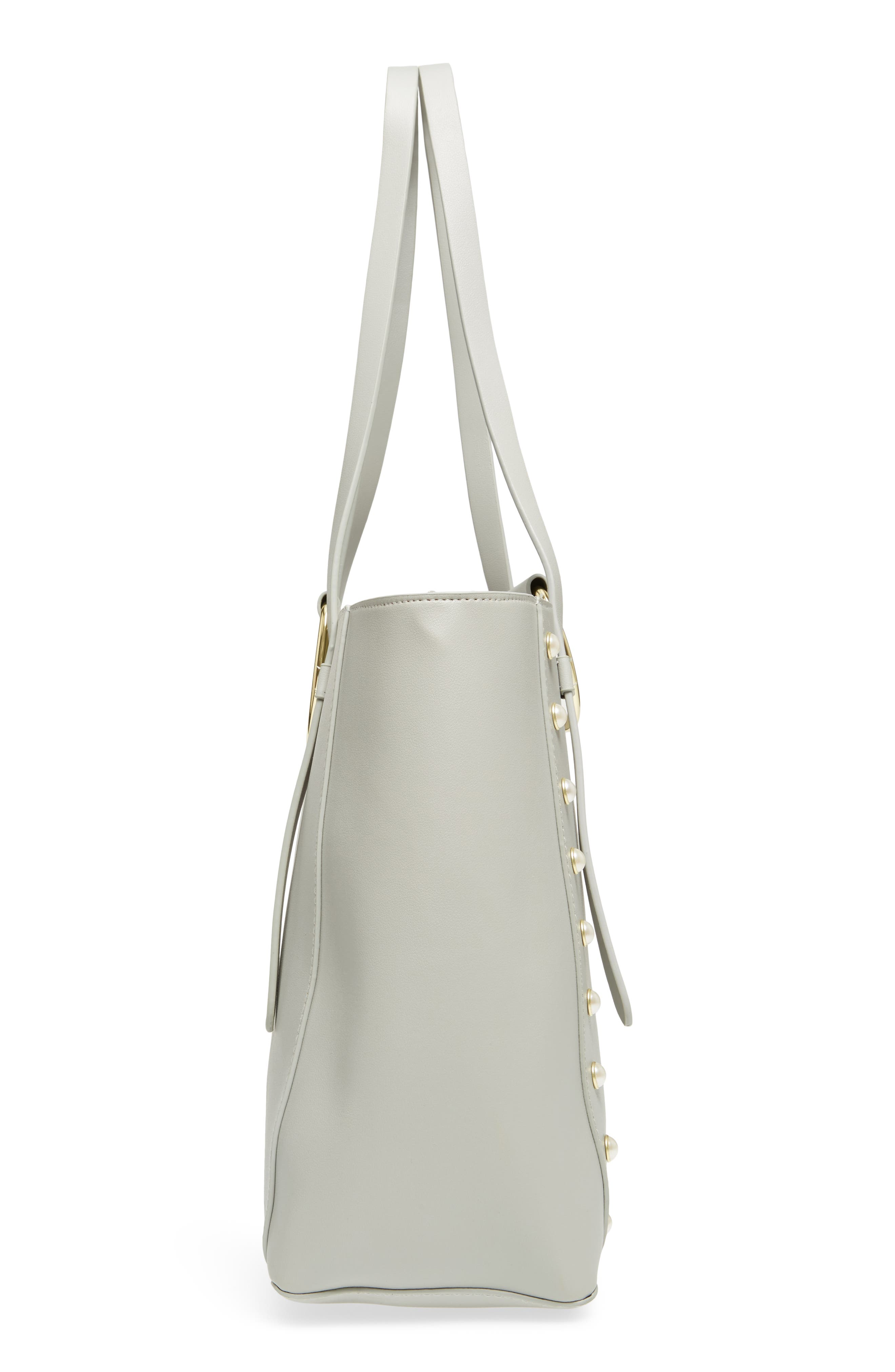 Imitation Pearl Embellished Faux Leather Ring Tote,                             Alternate thumbnail 5, color,                             020