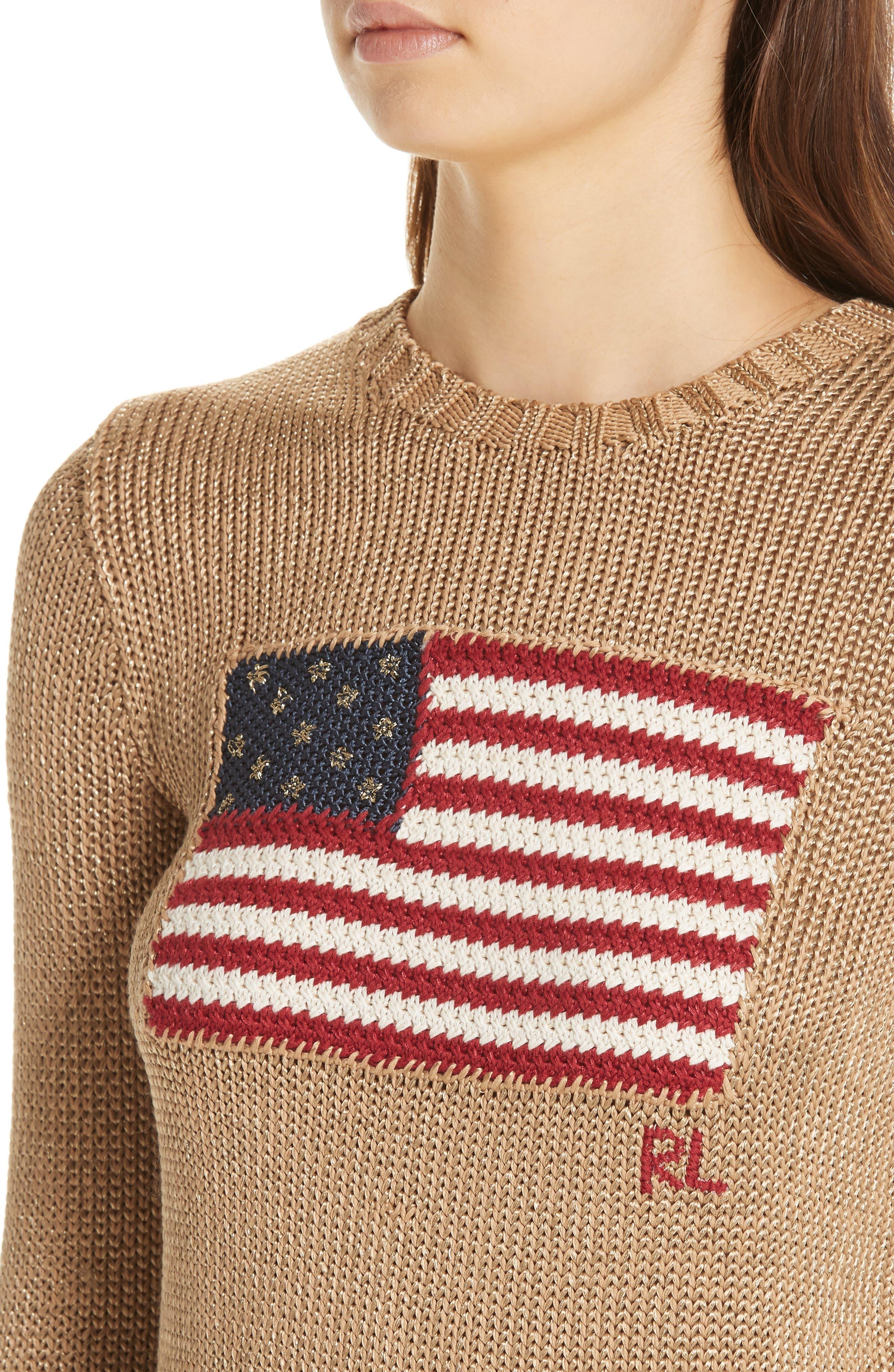 Metallic Cotton Blend Flag Sweater,                             Alternate thumbnail 4, color,                             GOLD MULTI