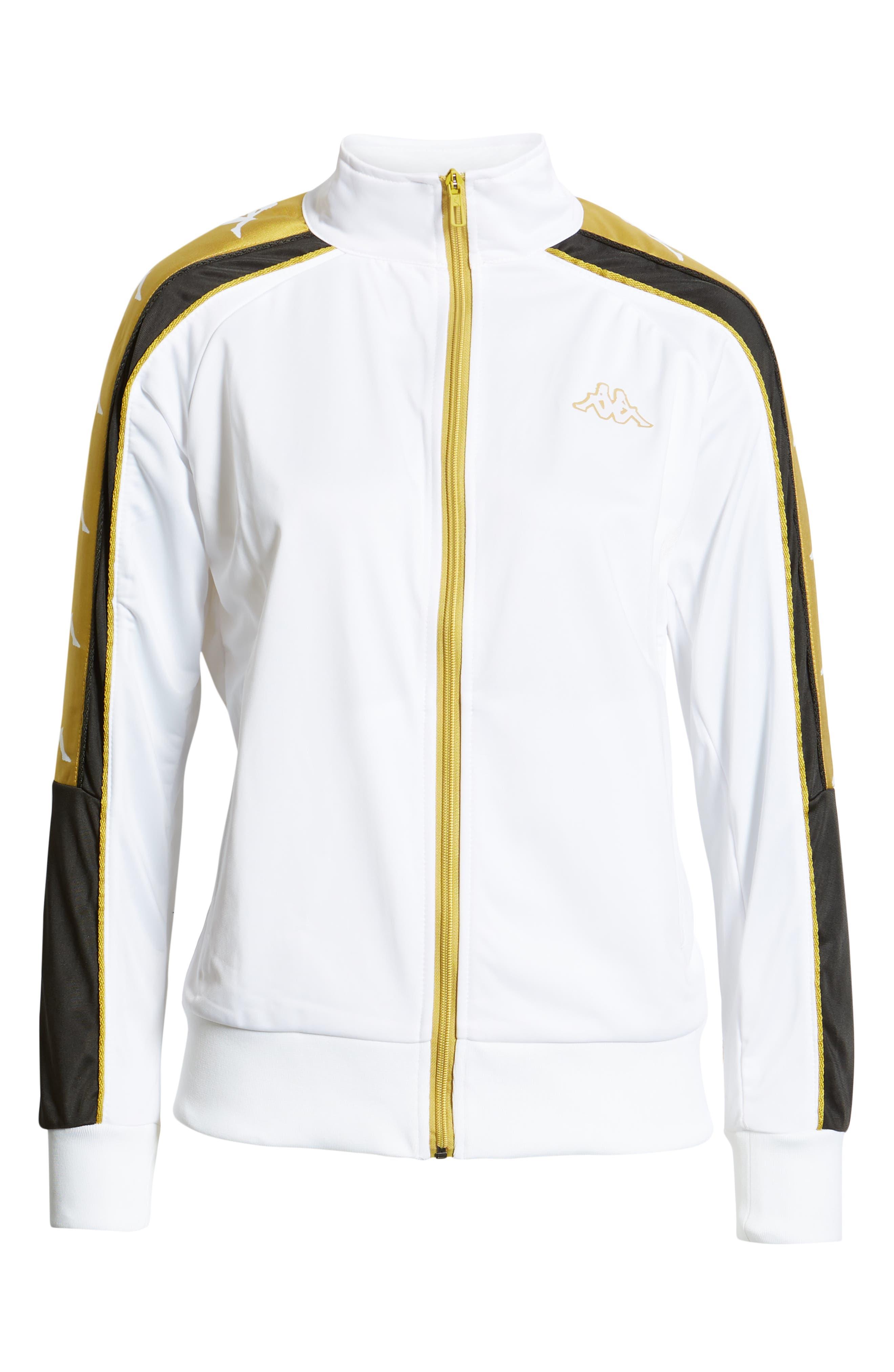 Active Logo Warmup Jacket,                             Alternate thumbnail 7, color,                             WHITE/ YELLOW GOLD