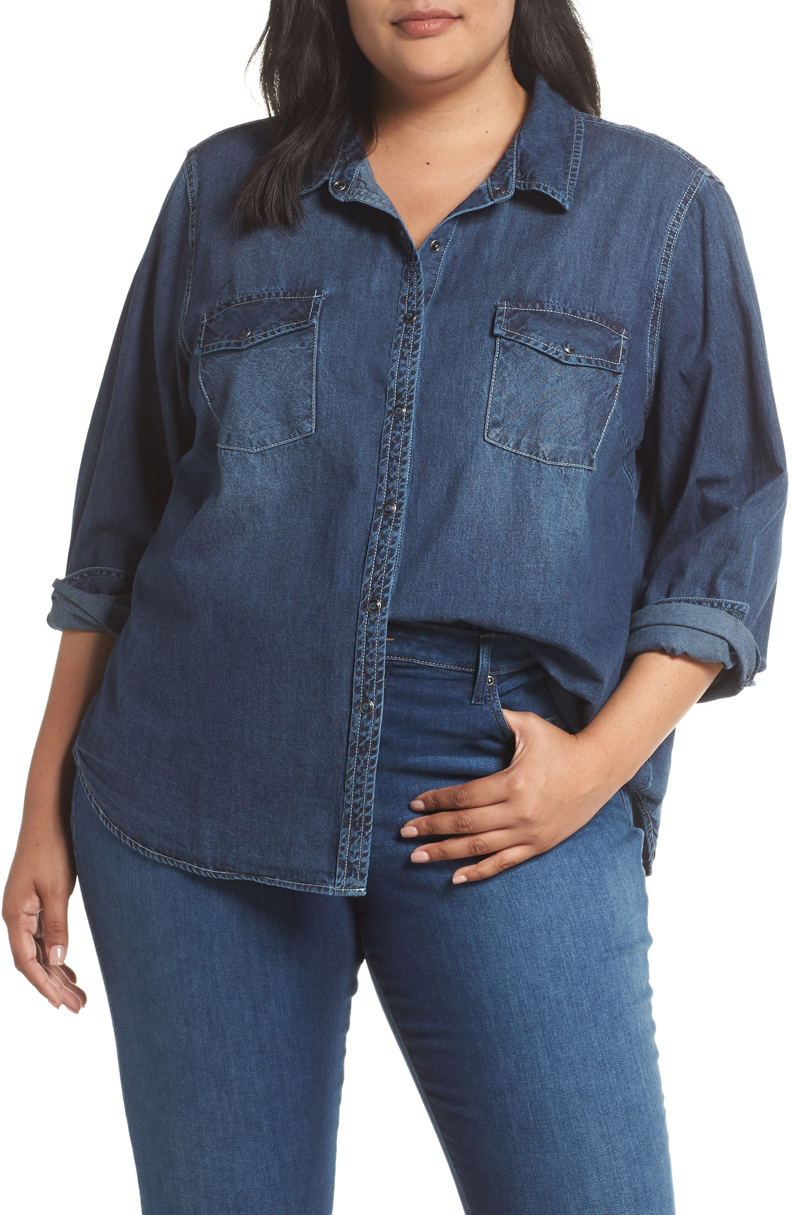 SANCTUARY Denim Work Shirt, Main, color, 438