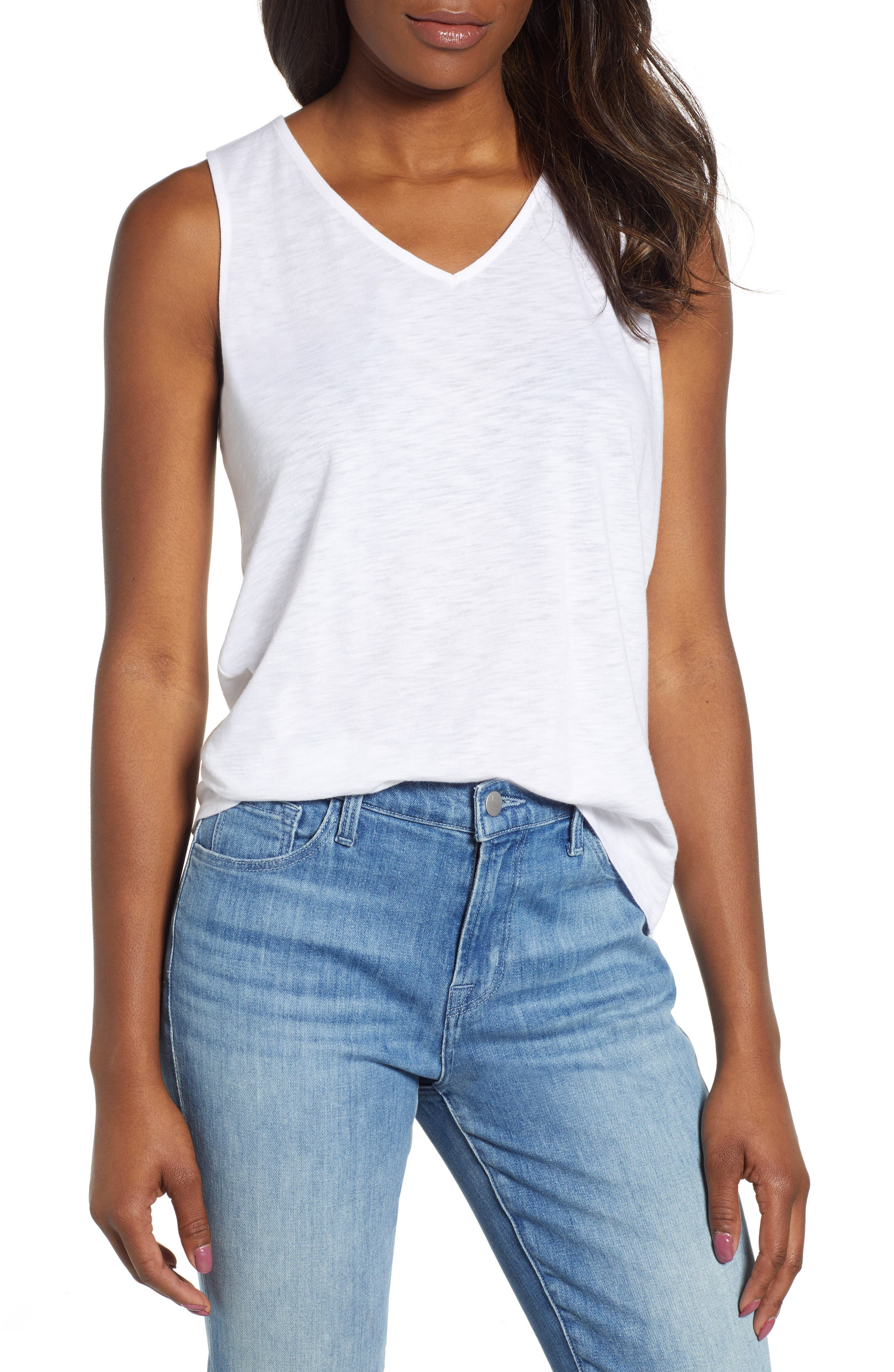 x Hi Sugarplum! Malibu Embroidered Racerback Tank Top, Main, color, WHITE W/ BLACK/ WHITE