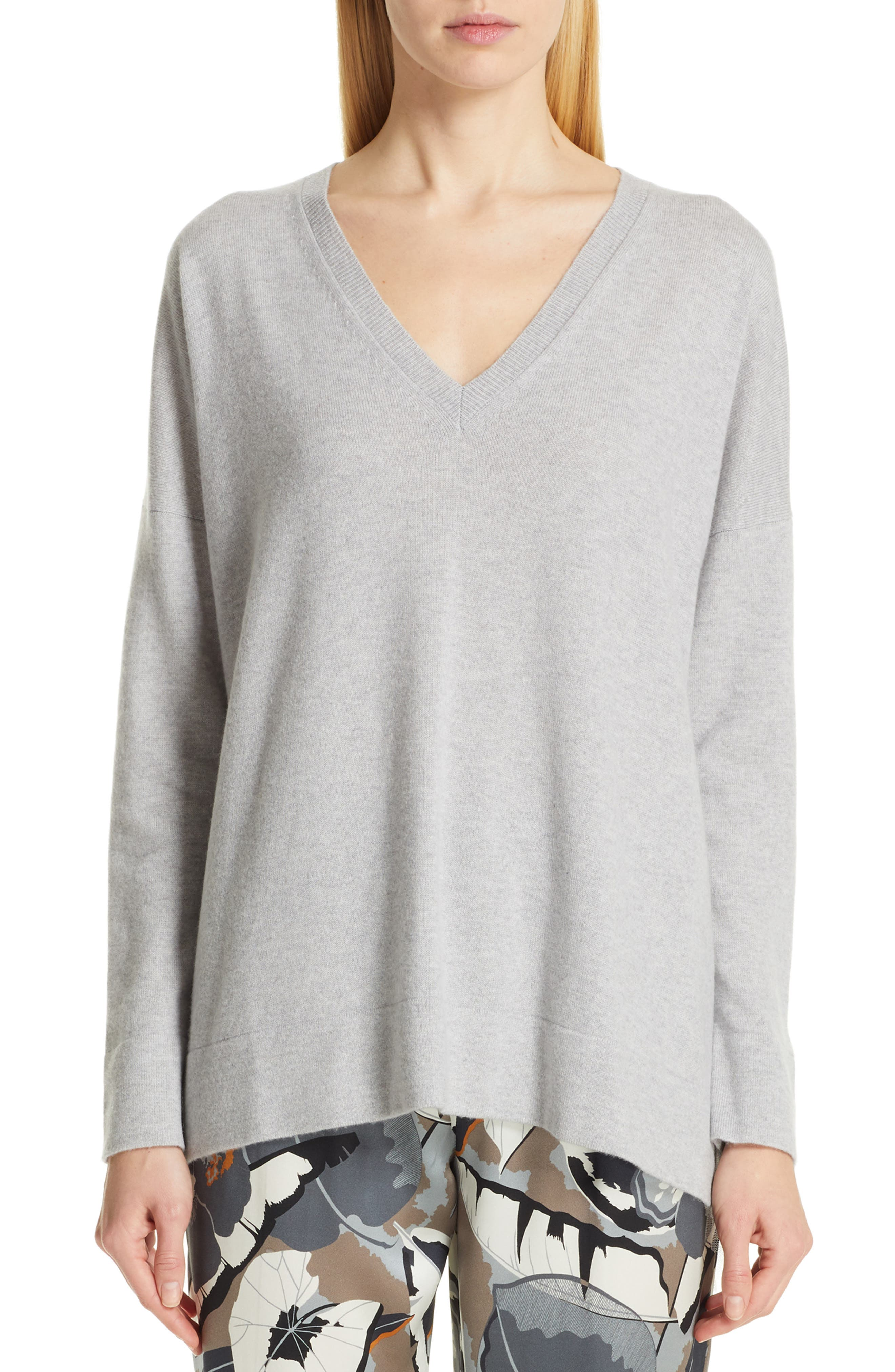 FABIANA FILIPPI Tulle Inset Cashmere Sweater, Main, color, GREY