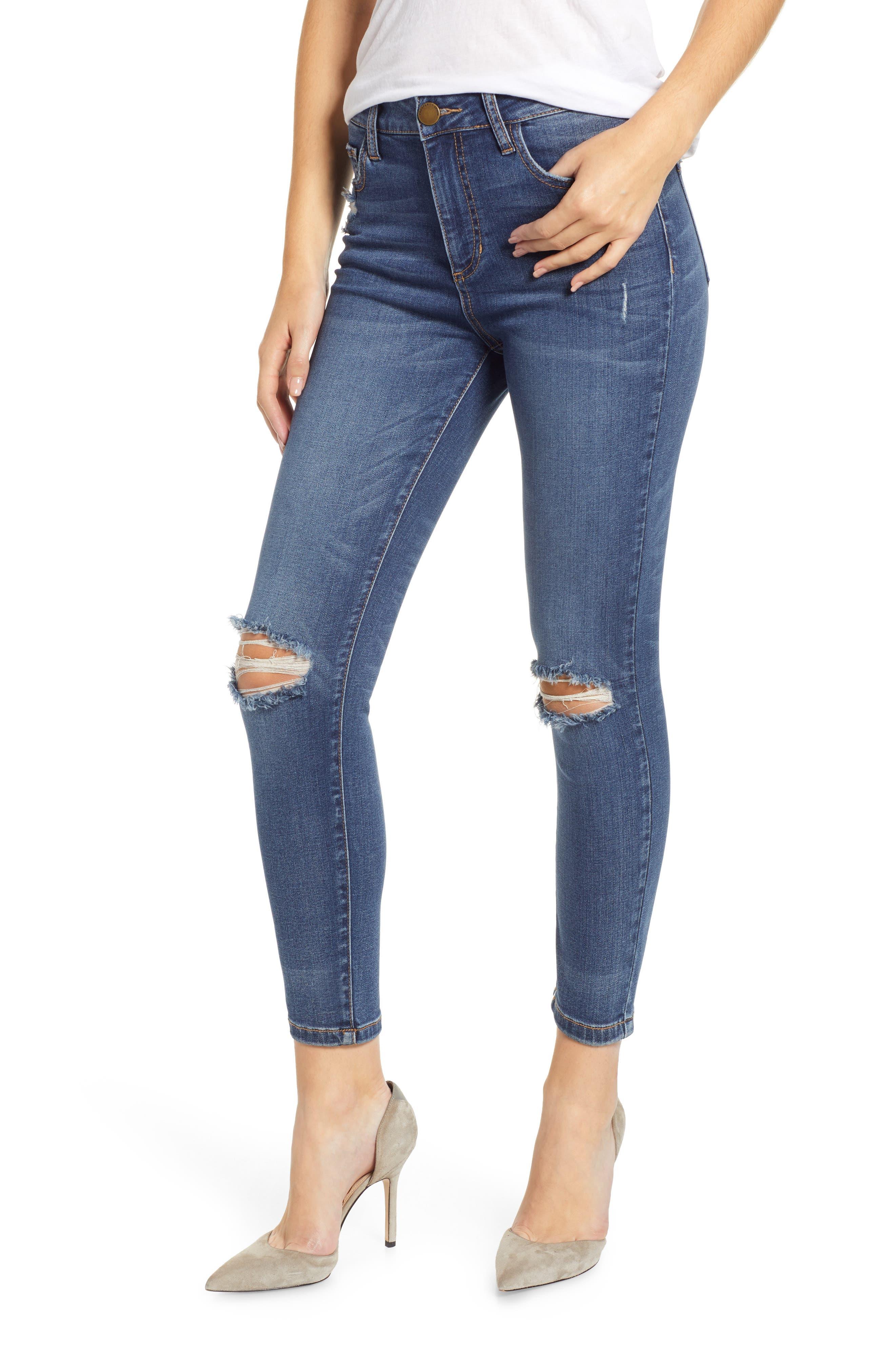 PROSPERITY DENIM Ripped High Waist Skinny Jeans, Main, color, RAYA WASH