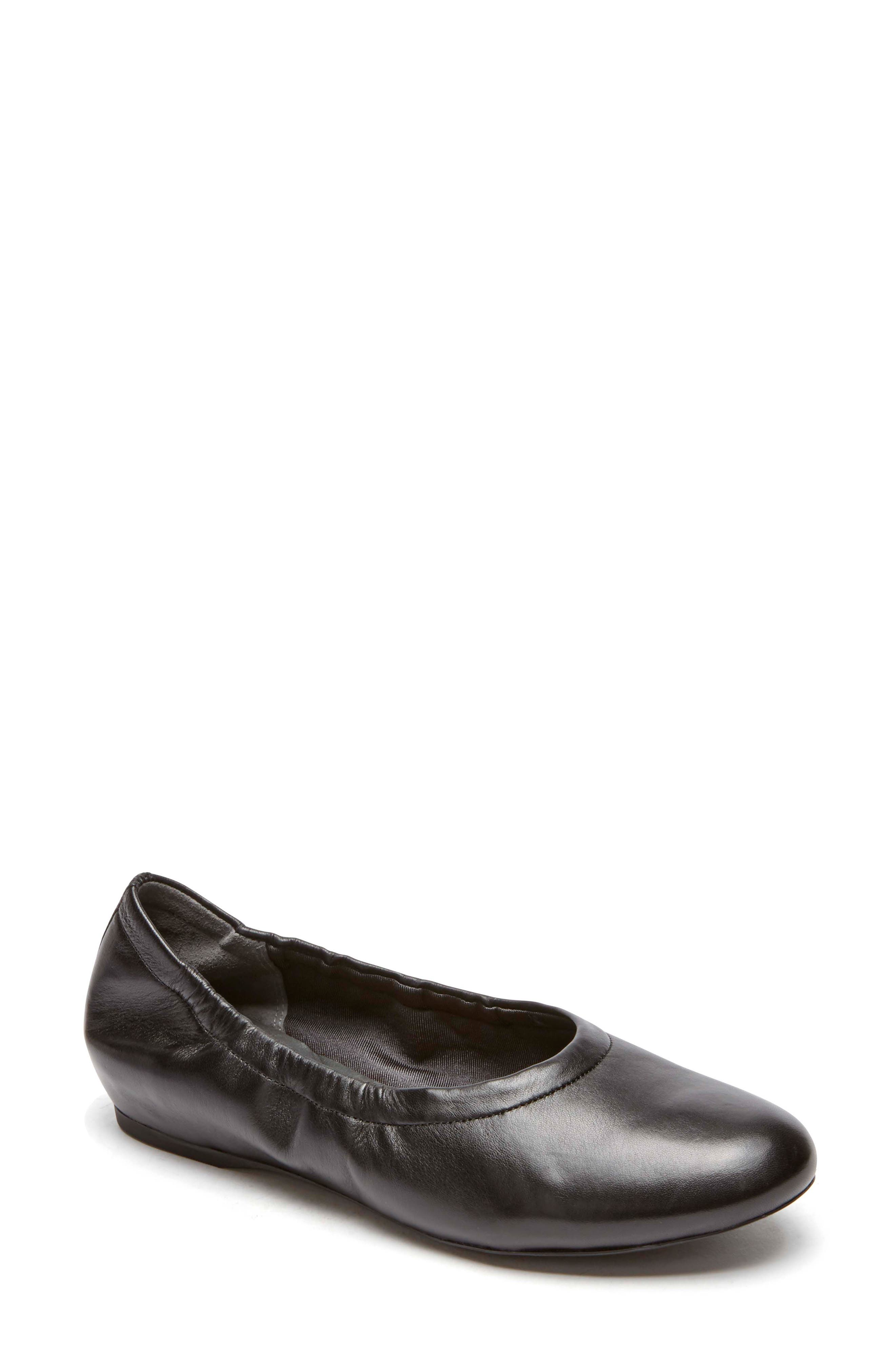 Total Motion Luxe Ruched Slip-On,                             Main thumbnail 1, color,                             BLACK LEATHER