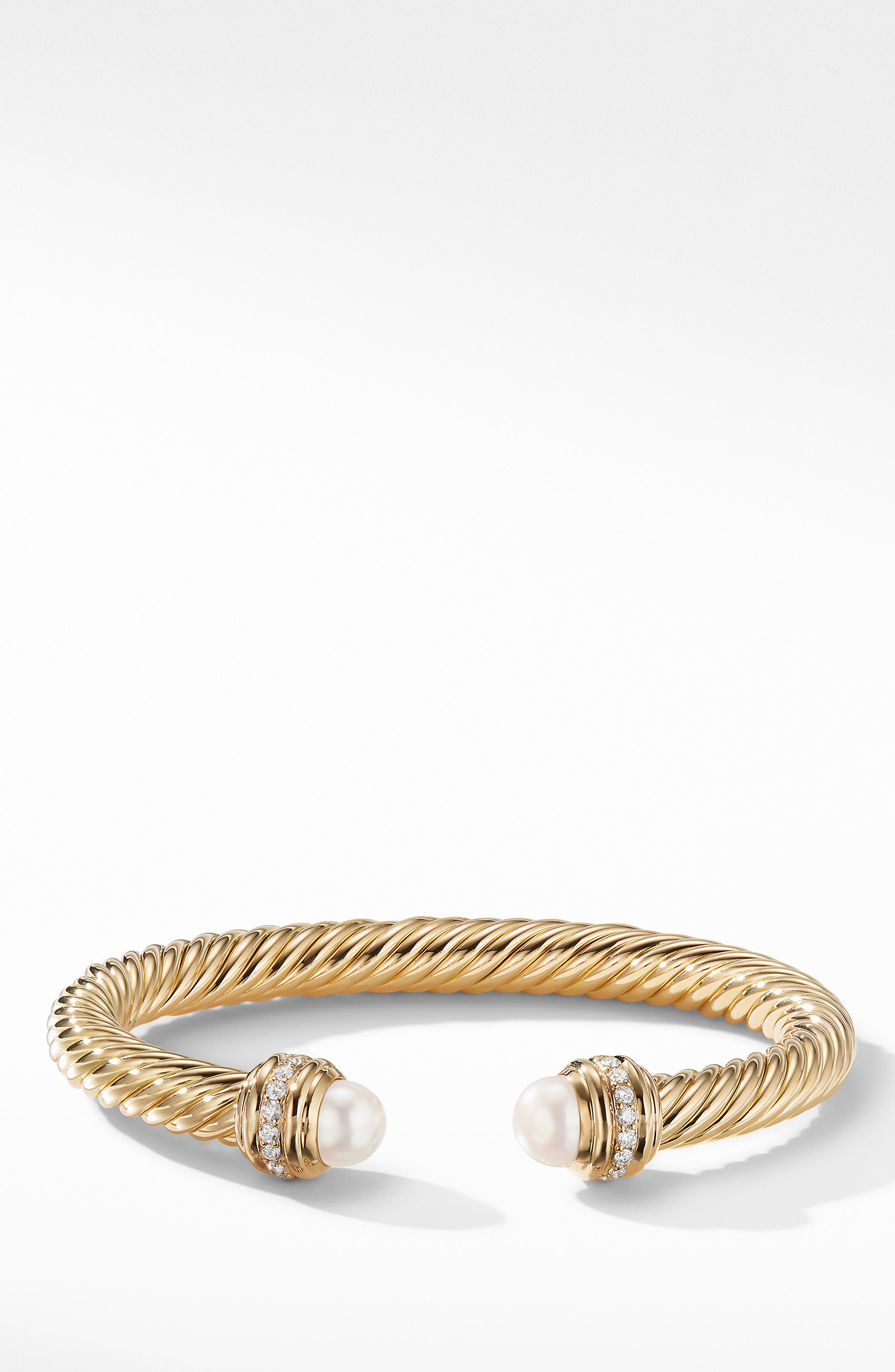 Cable Bracelet in 18K Gold with Diamonds,                             Alternate thumbnail 2, color,                             YELLOW GOLD/ DIAMOND/ PEARL