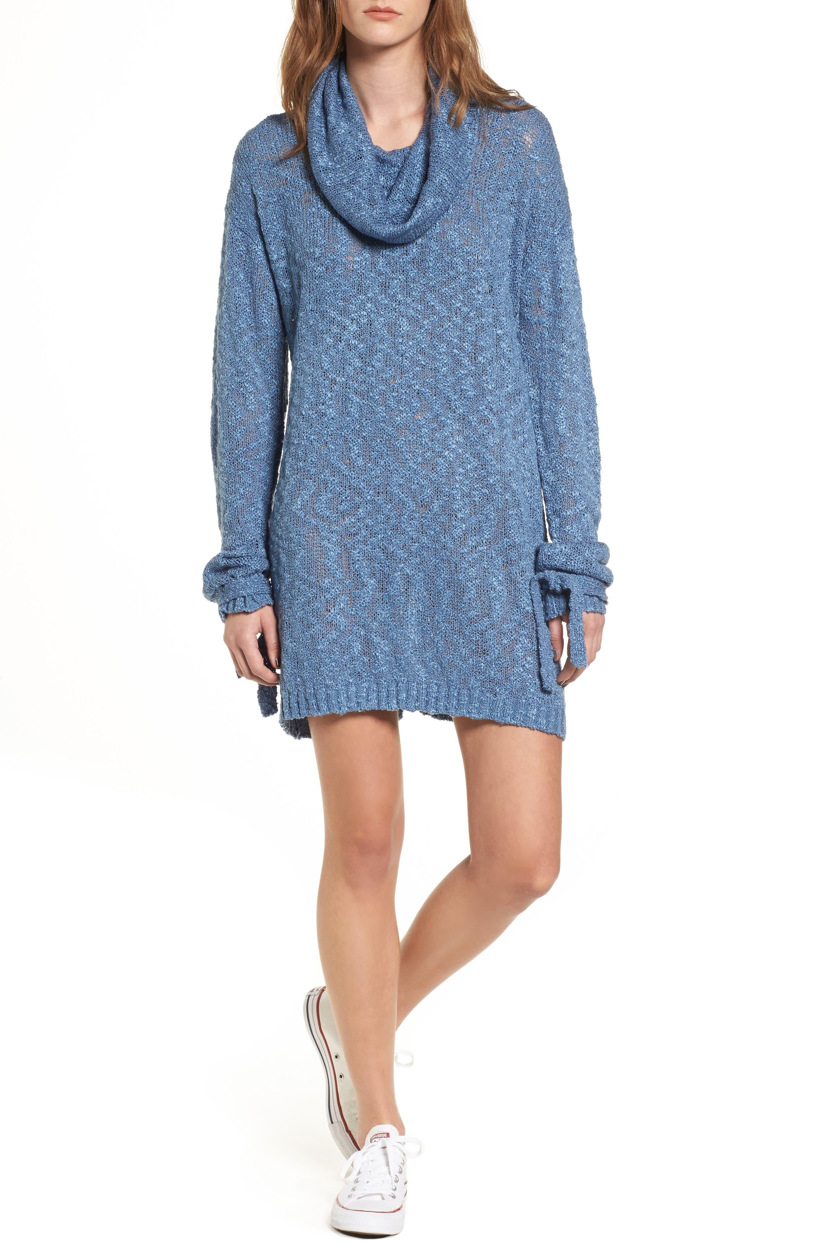 Fading Light Cowl Neck Sweater Dress,                             Alternate thumbnail 5, color,                             401