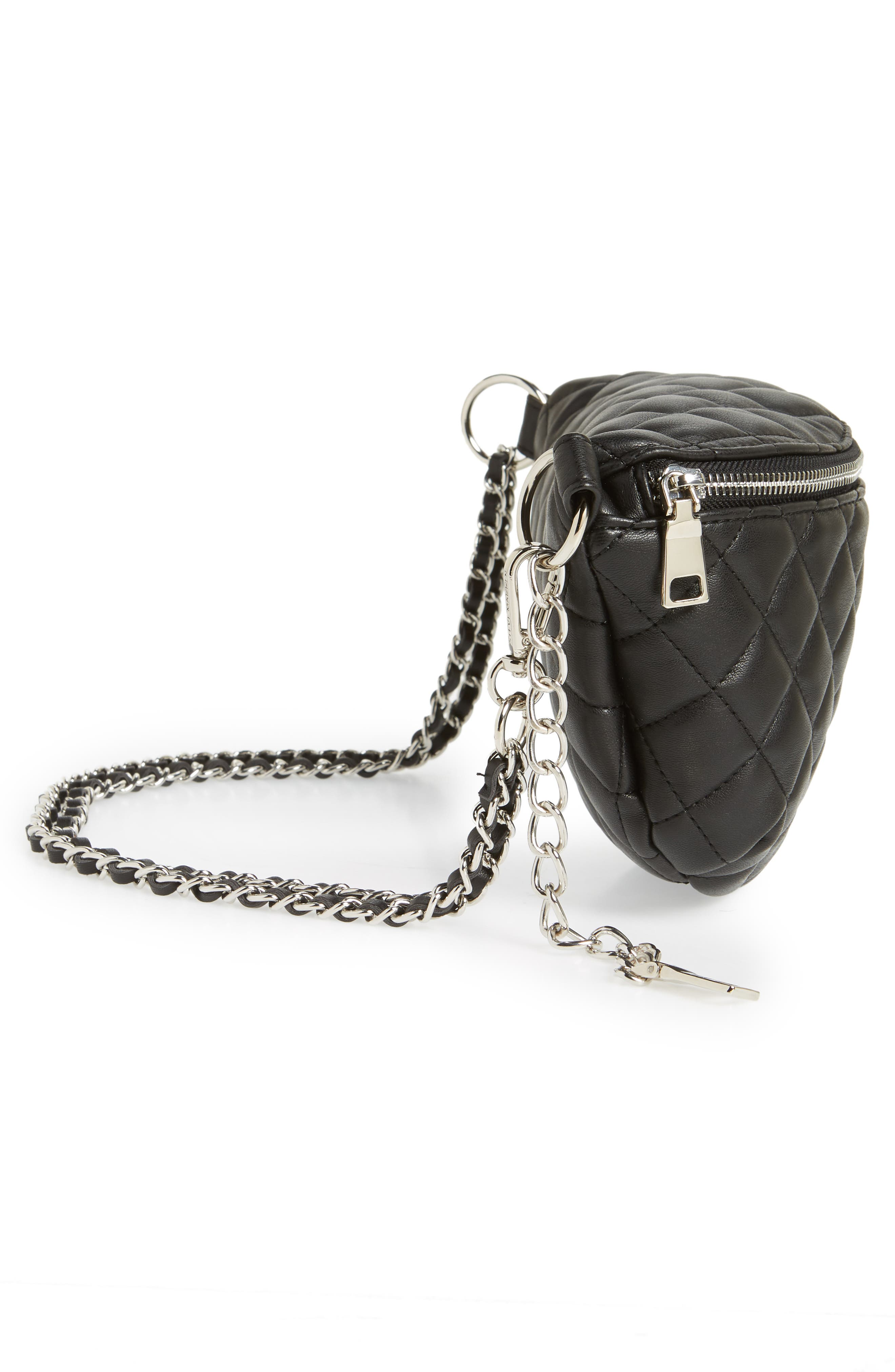 Quilted Faux Leather Fanny Pack,                             Alternate thumbnail 8, color,                             BLACK