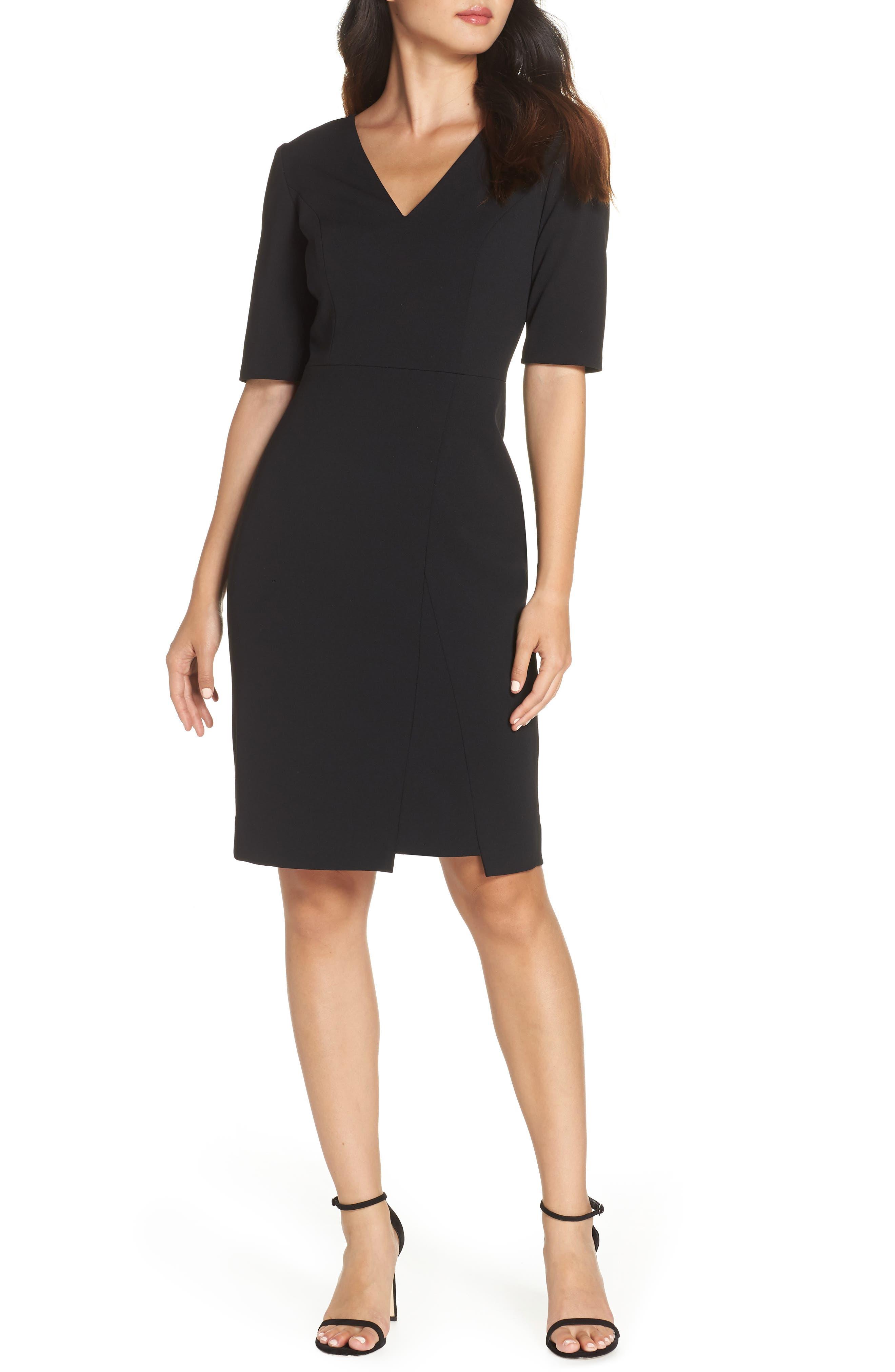 Scuba Crepe Dress,                         Main,                         color, BLACK