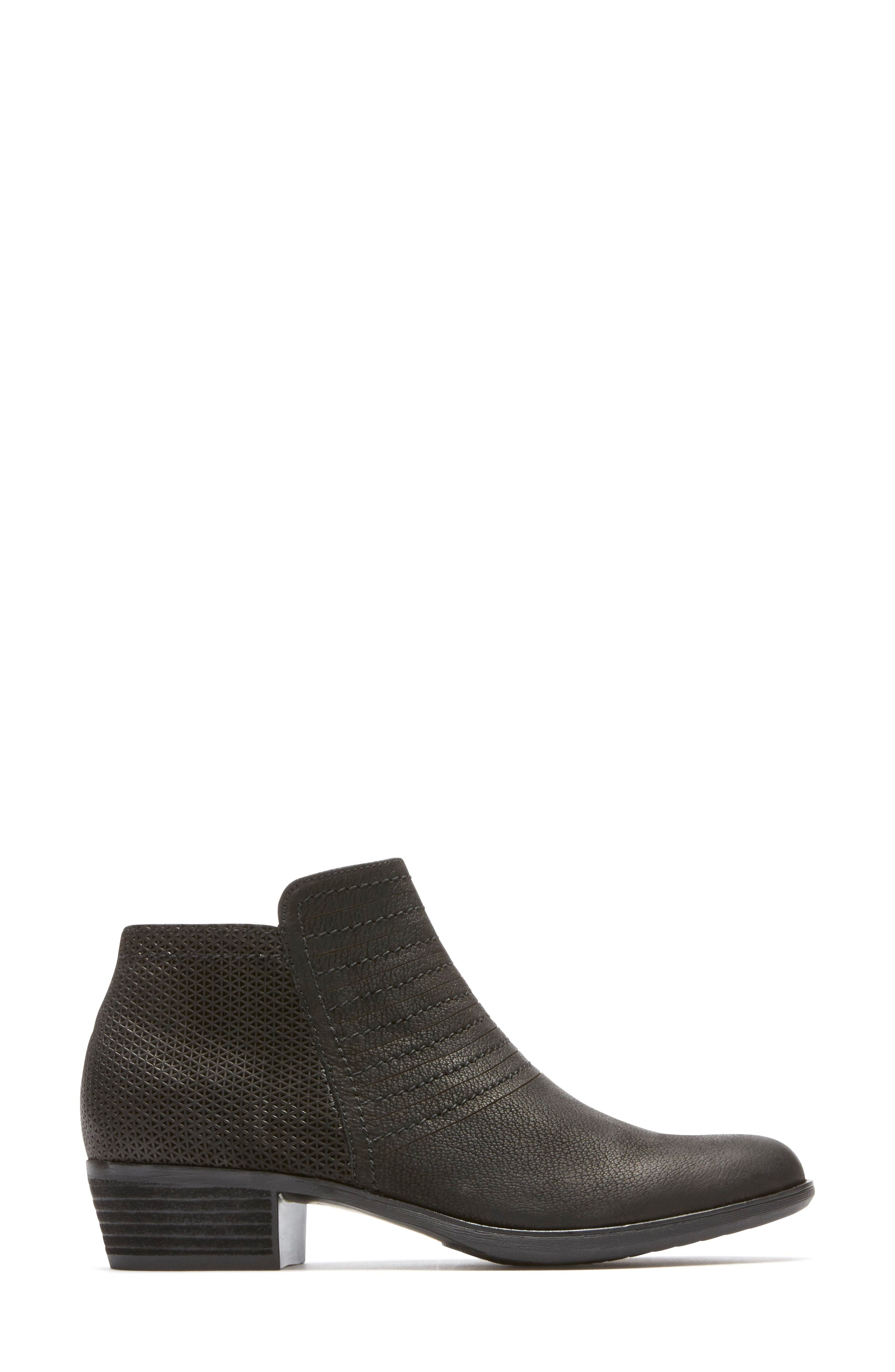 ROCKPORT,                             Vanna Strappy Bootie,                             Alternate thumbnail 3, color,                             BLACK NUBUCK