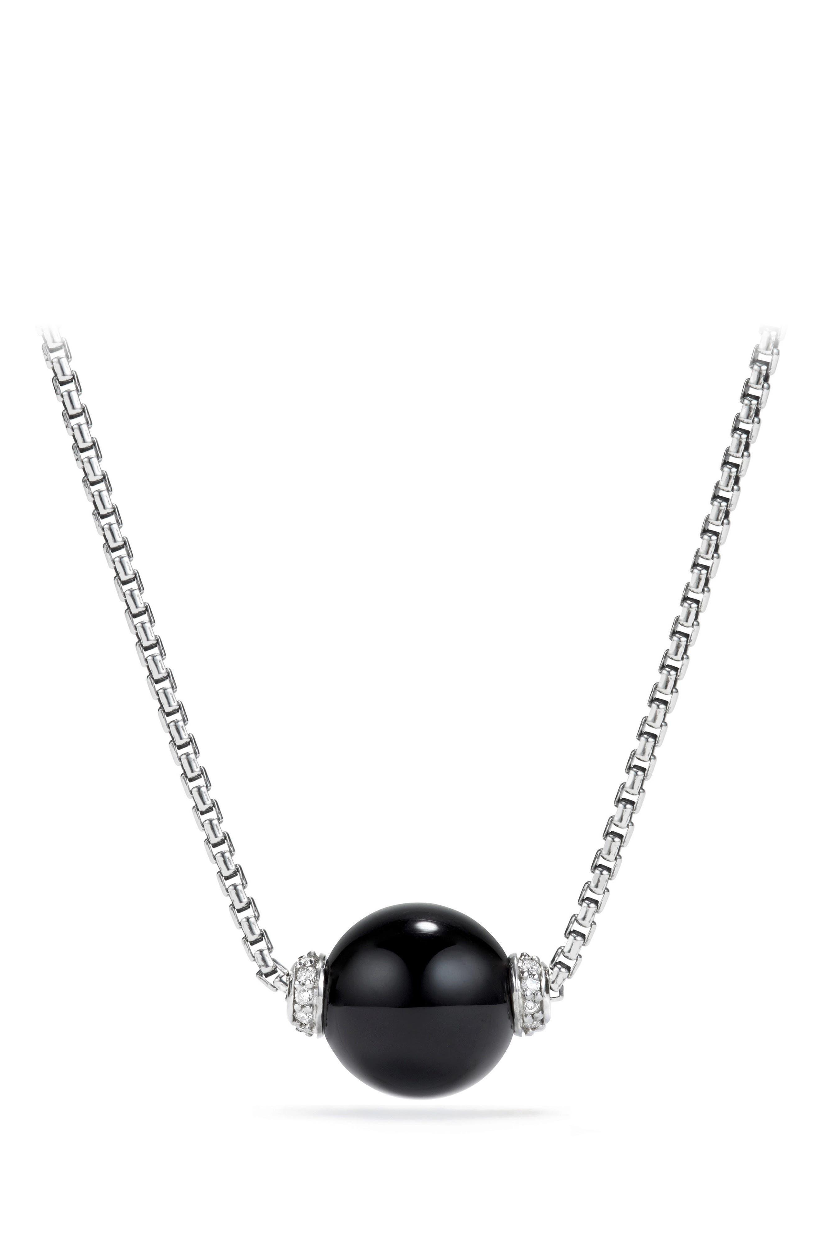 Solari Pendant Necklace with Diamonds, Main, color, SILVER/ DIAMOND/ BLACK ONYX