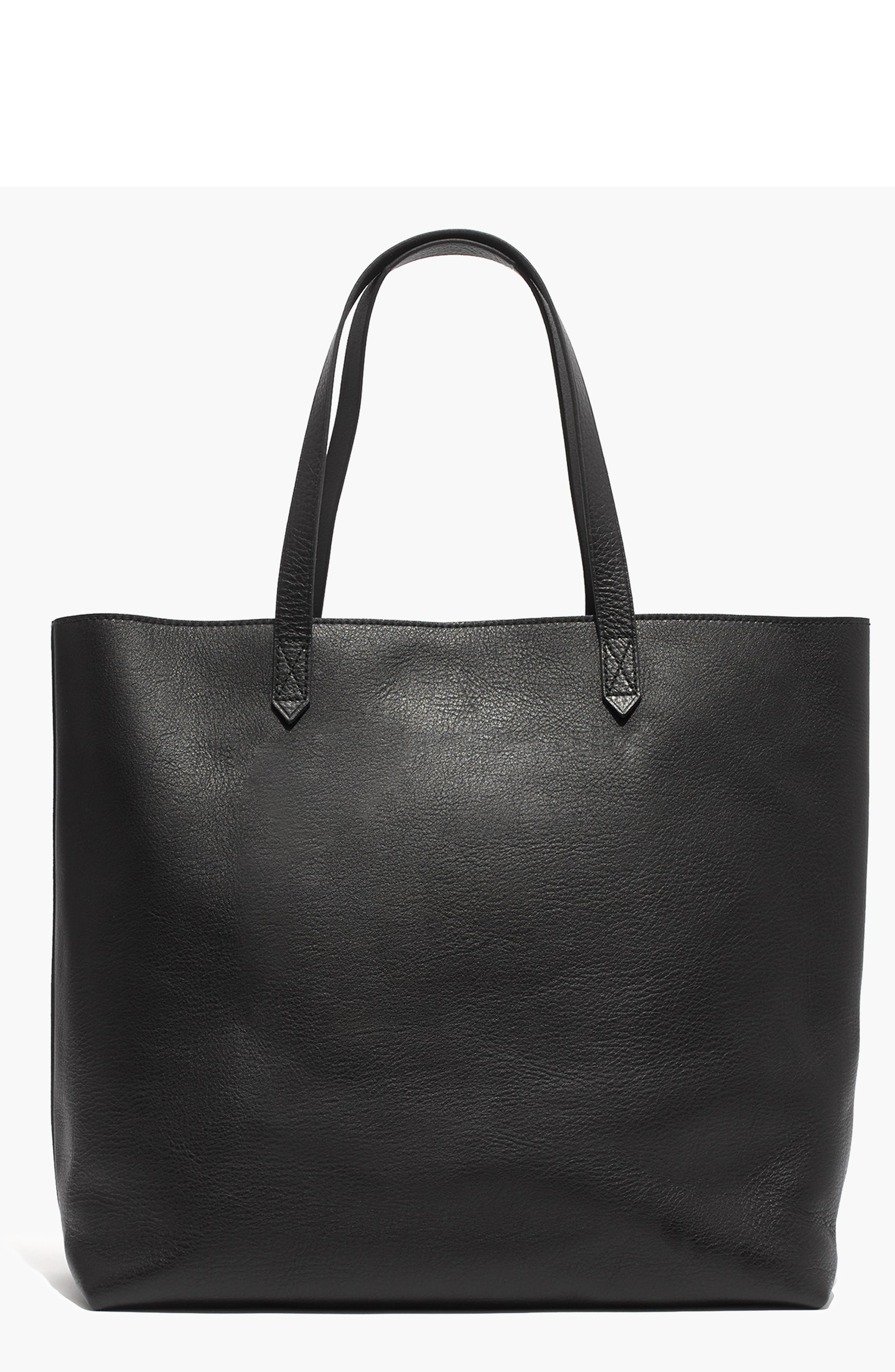 Zip Top Transport Leather Tote,                         Main,                         color, TRUE BLACK