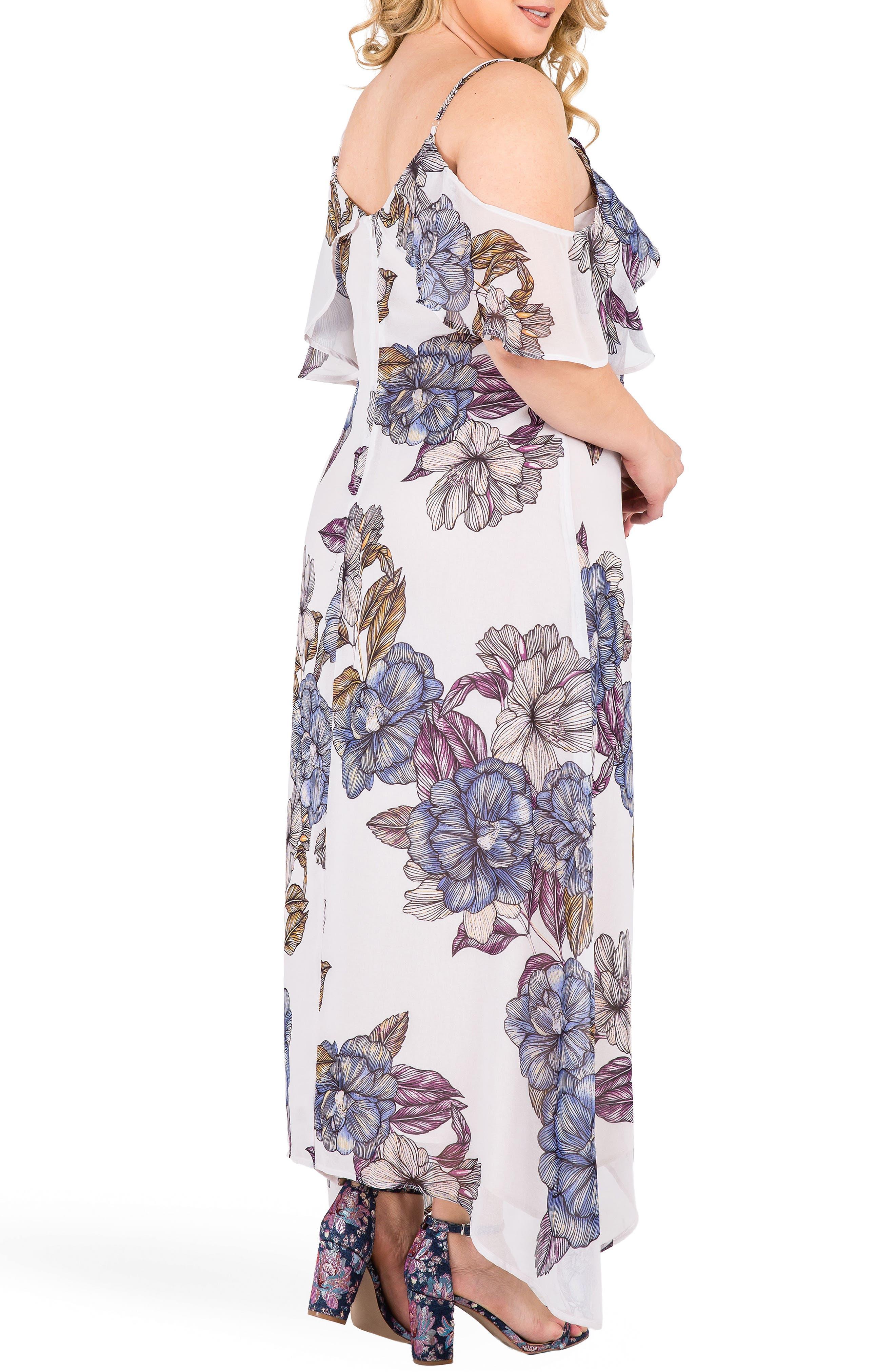 Matilda Floral Cold Shoulder Maxi Dress,                             Alternate thumbnail 3, color,                             LIGHT GRAY FLORAL PRINT