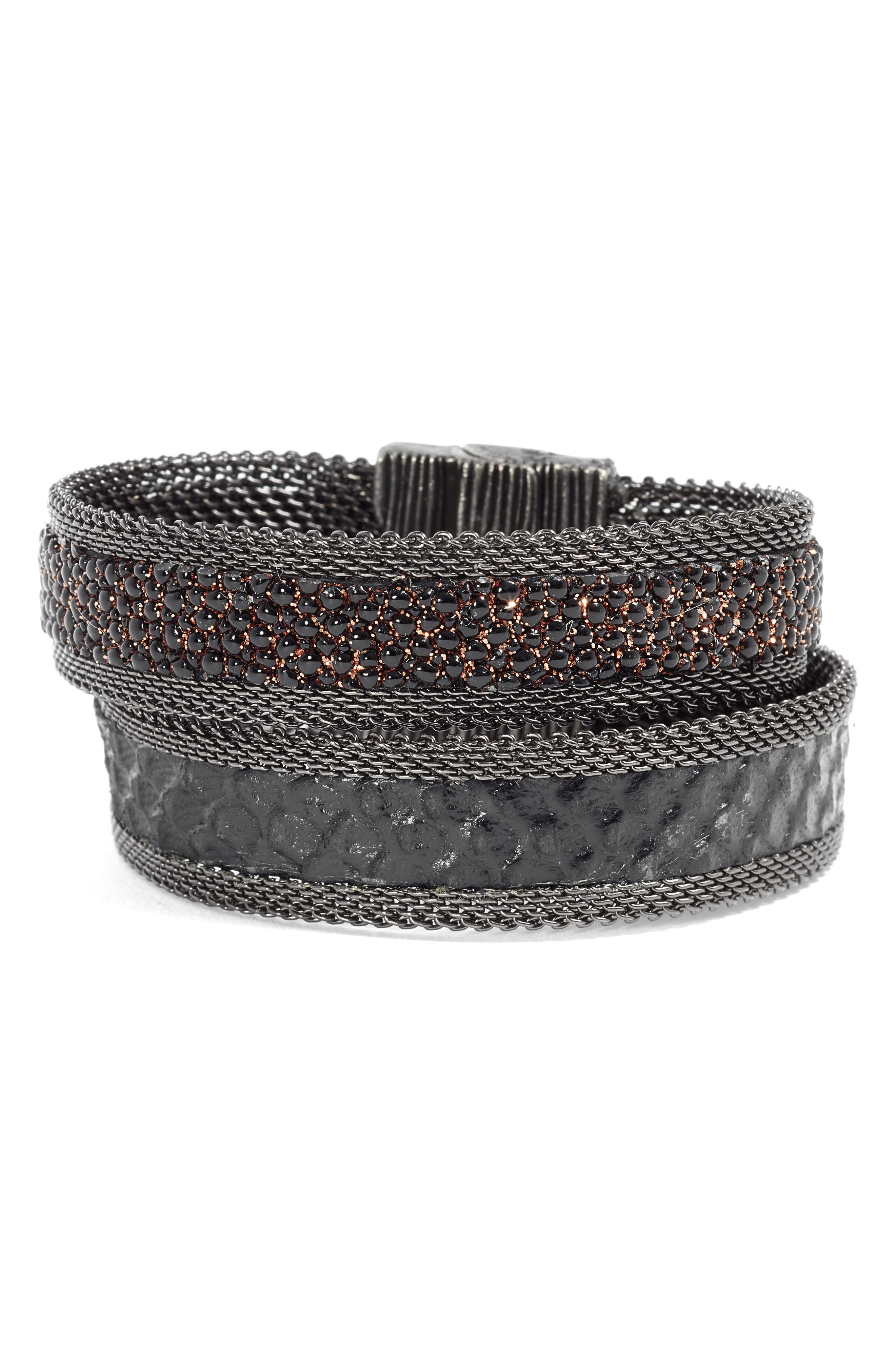 Shimmer Stingray & Snakeskin Bracelet,                             Main thumbnail 1, color,                             BLACK/ COPPER/ GUN METAL