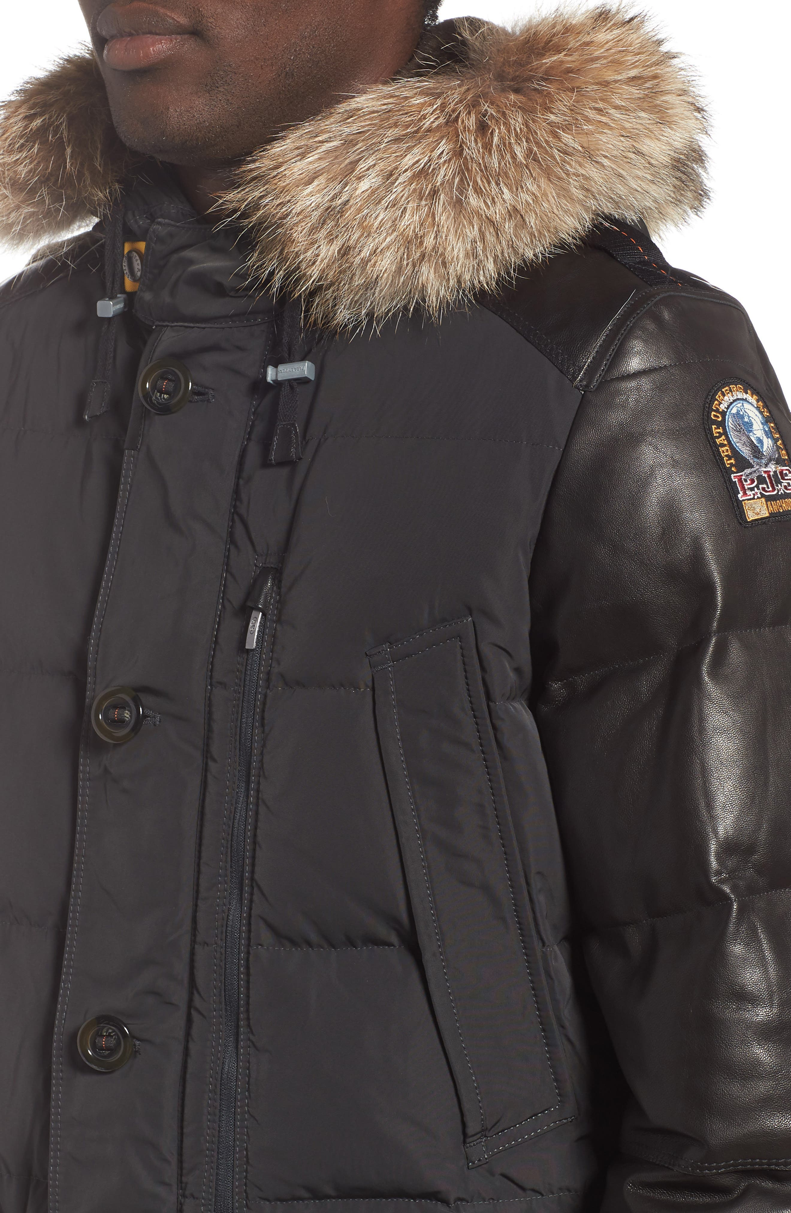 Dhole Hooded Down Jacket with Genuine Coyote Fur Trim,                             Alternate thumbnail 4, color,                             060