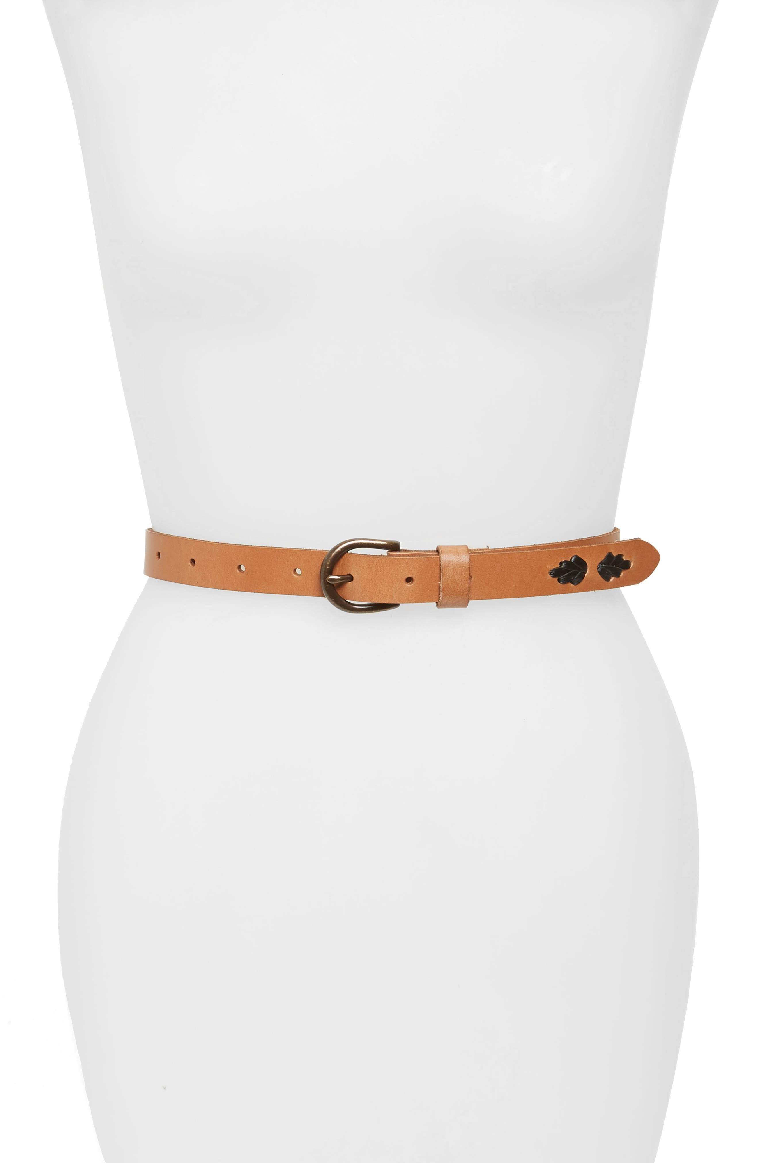 Laced Skinny Belt,                         Main,                         color, COGNAC