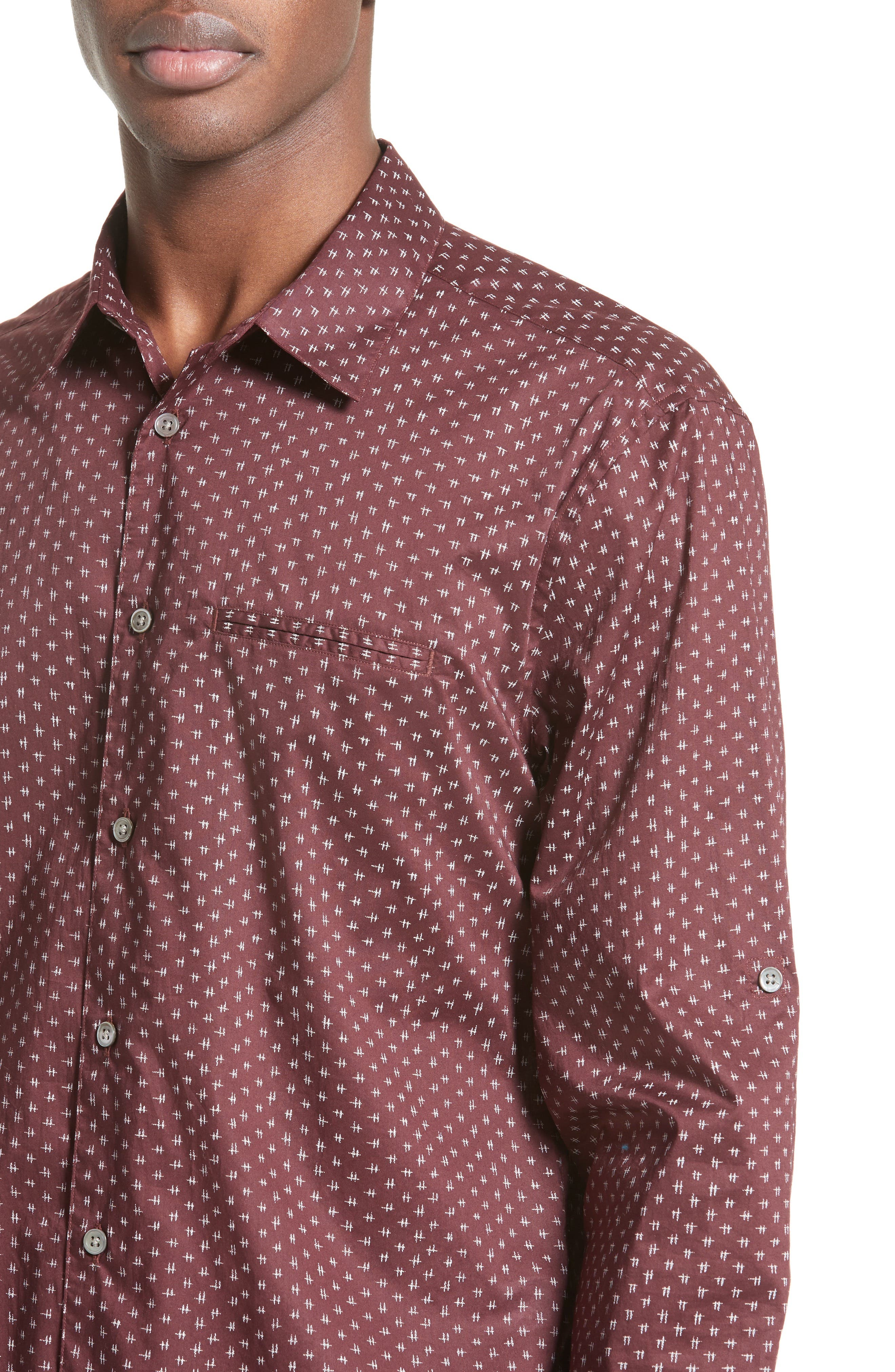 Slim Fit Print Sport Shirt,                             Alternate thumbnail 5, color,                             618