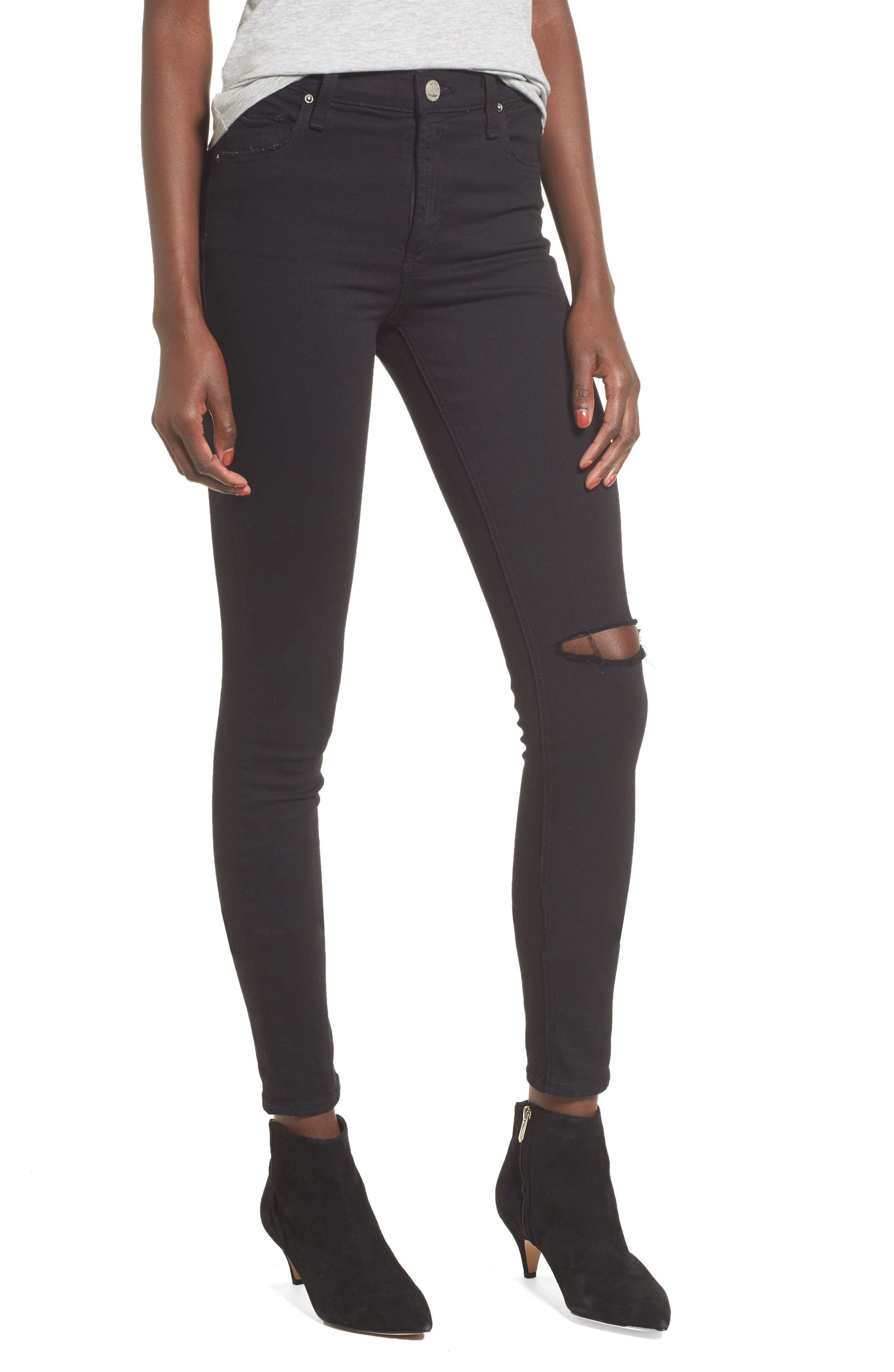 Newton High Waist Ankle Skinny Jeans,                             Main thumbnail 1, color,                             001