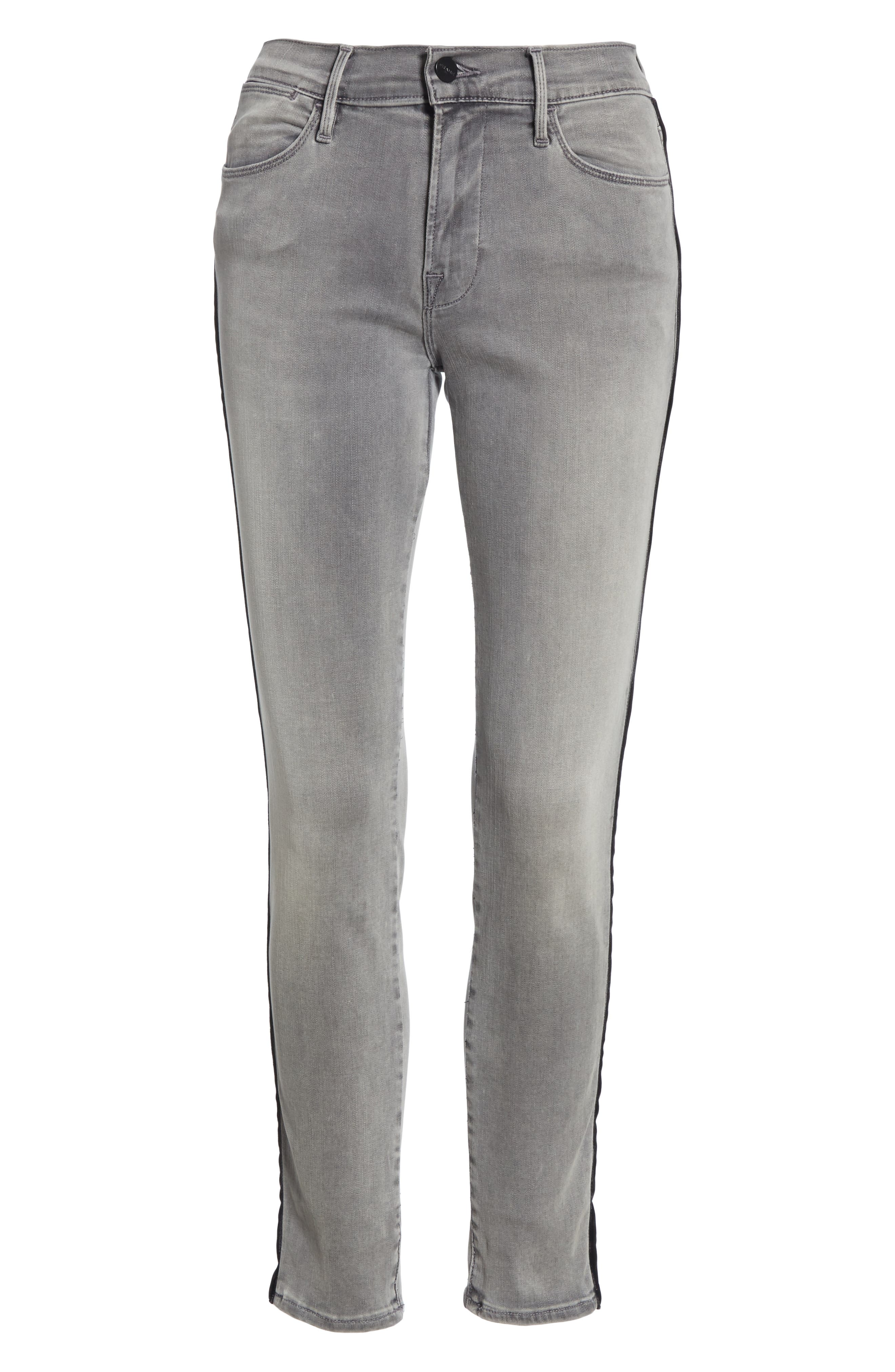 Le High Velvet Tuxedo Stripe Ankle Skinny Jeans,                             Alternate thumbnail 6, color,                             GRIMES