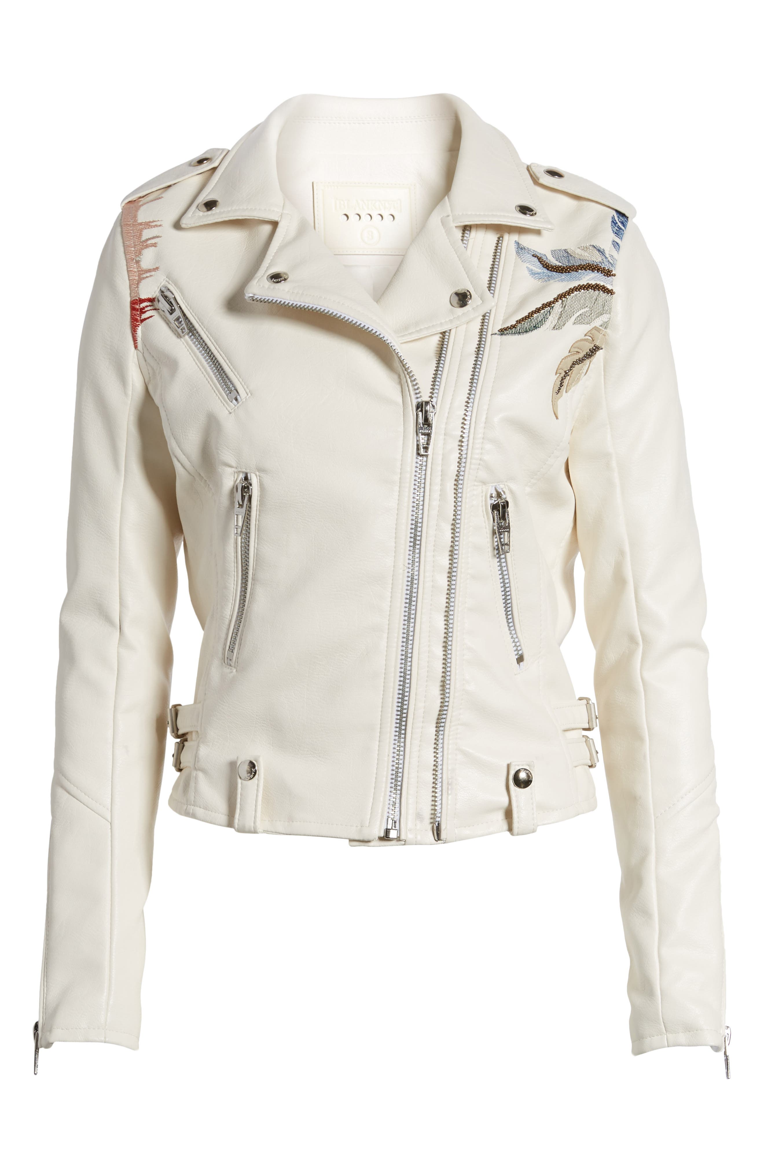 Embroidered Faux Leather Moto Jacket,                             Alternate thumbnail 5, color,                             900