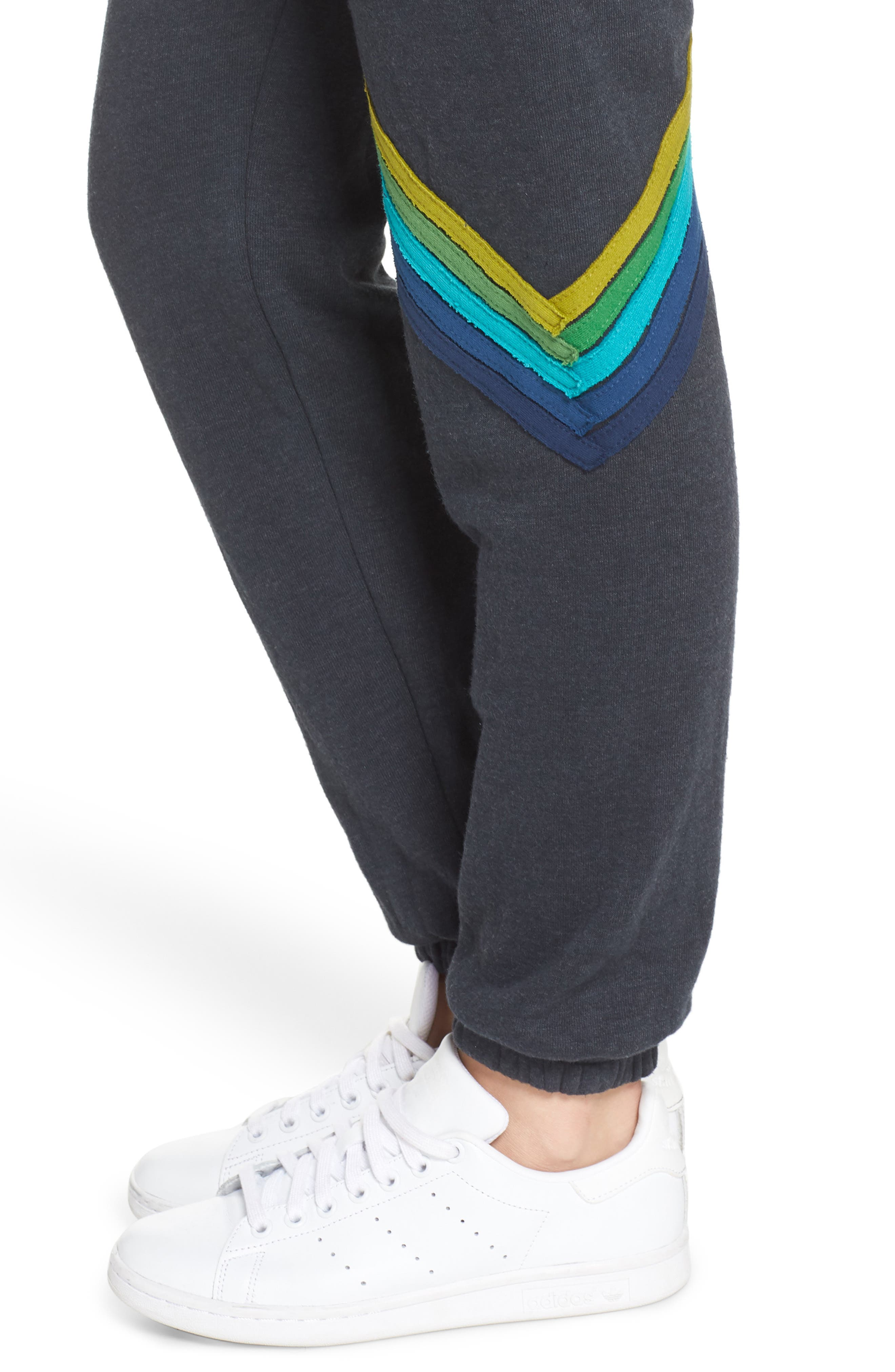 Chevron Stripe Sweatpants,                             Alternate thumbnail 4, color,                             CHARCOAL/ GREEN