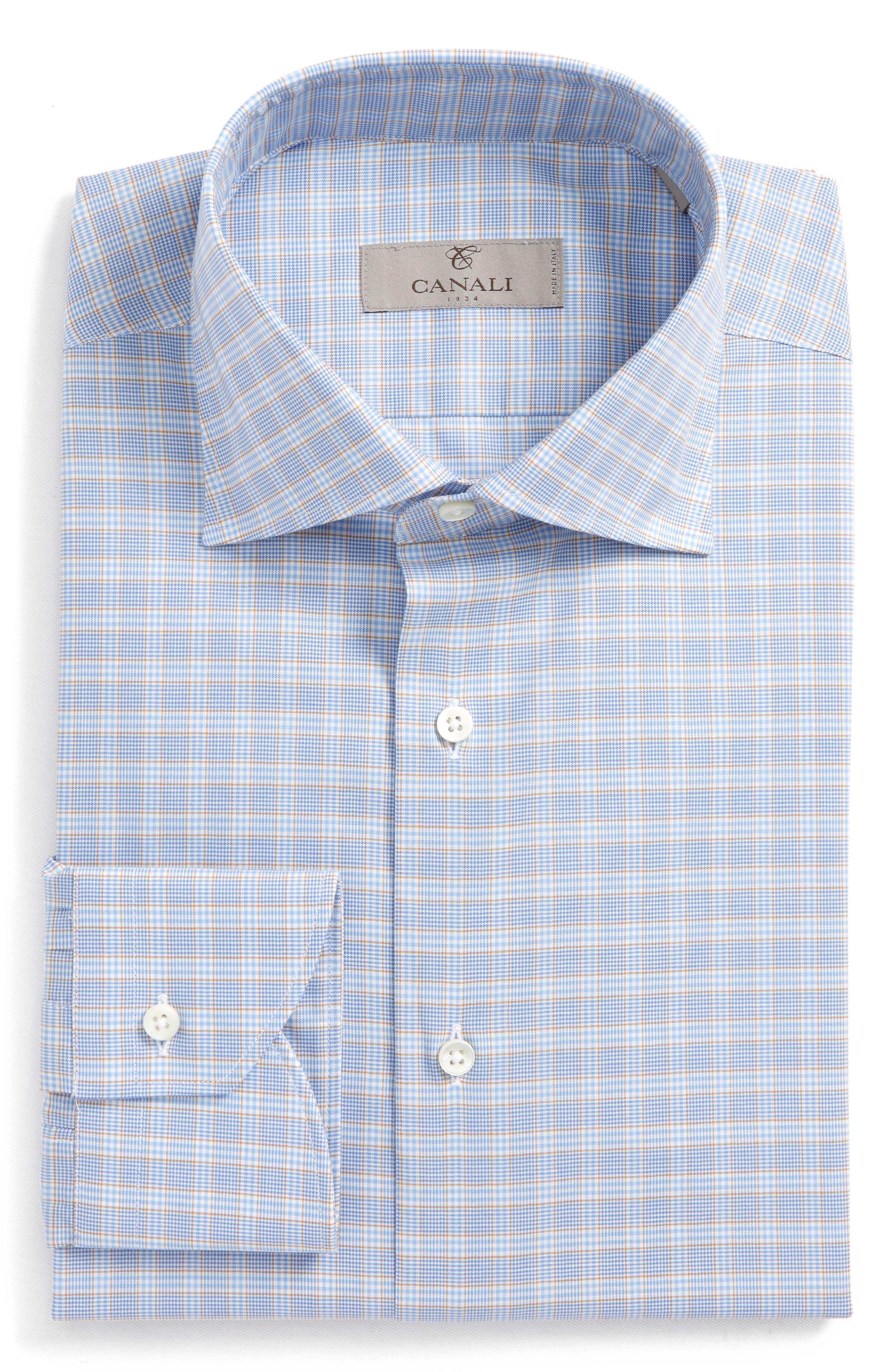 Regular Fit Plaid Dress Shirt,                             Main thumbnail 1, color,