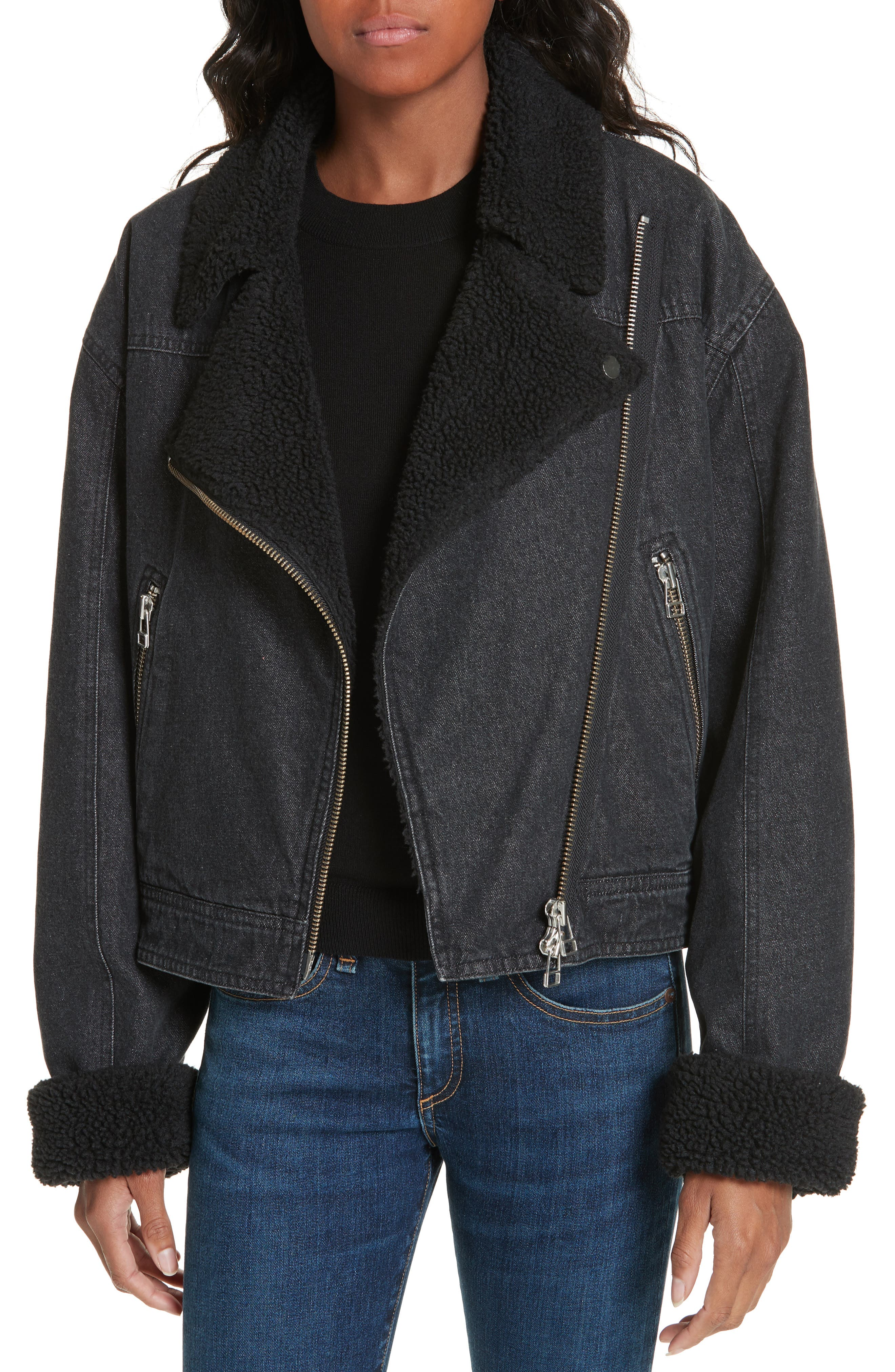 Rosina Faux Shearling Lined Denim Biker Jacket,                             Main thumbnail 1, color,                             002