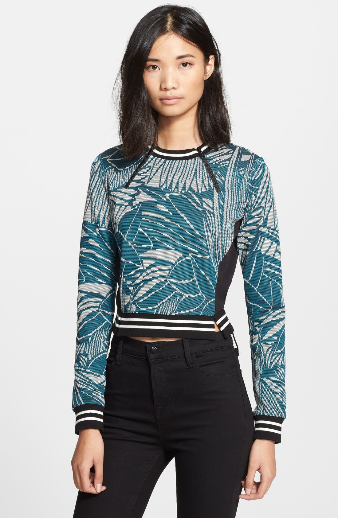Palm Jacquard Jersey Sweater,                             Main thumbnail 1, color,