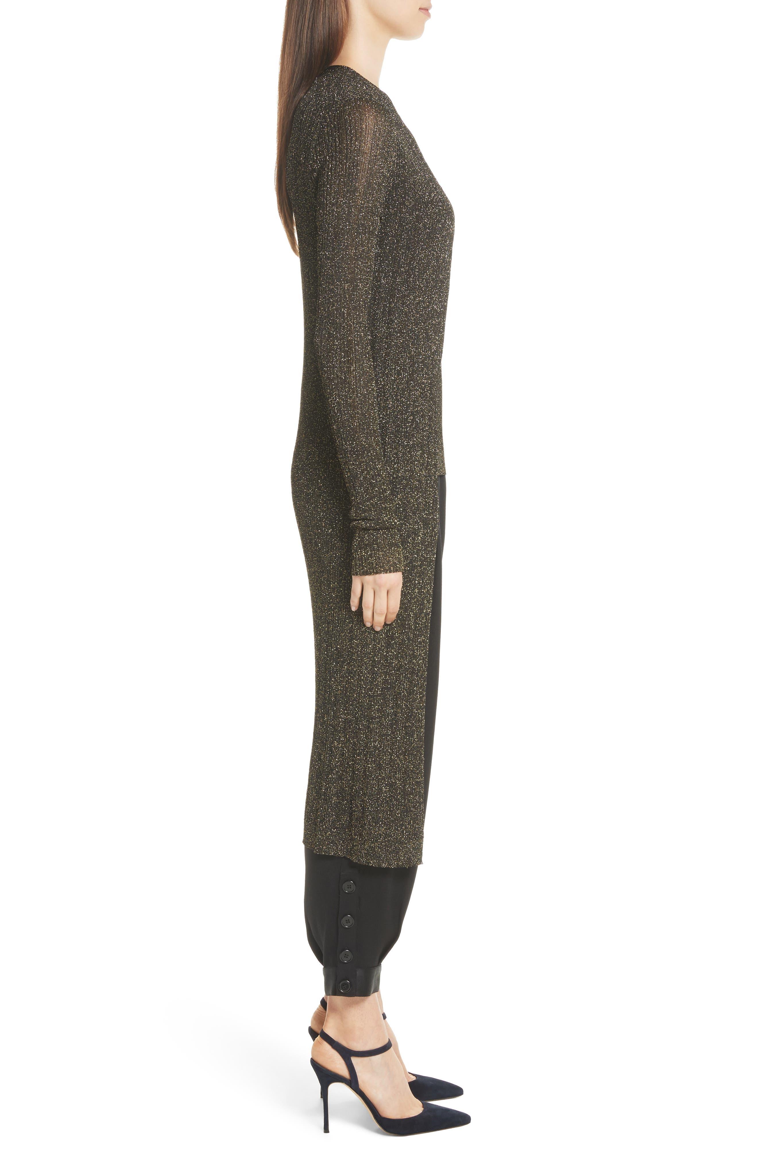 LaSalle Metallic Knit Long Cardigan,                             Alternate thumbnail 3, color,                             011