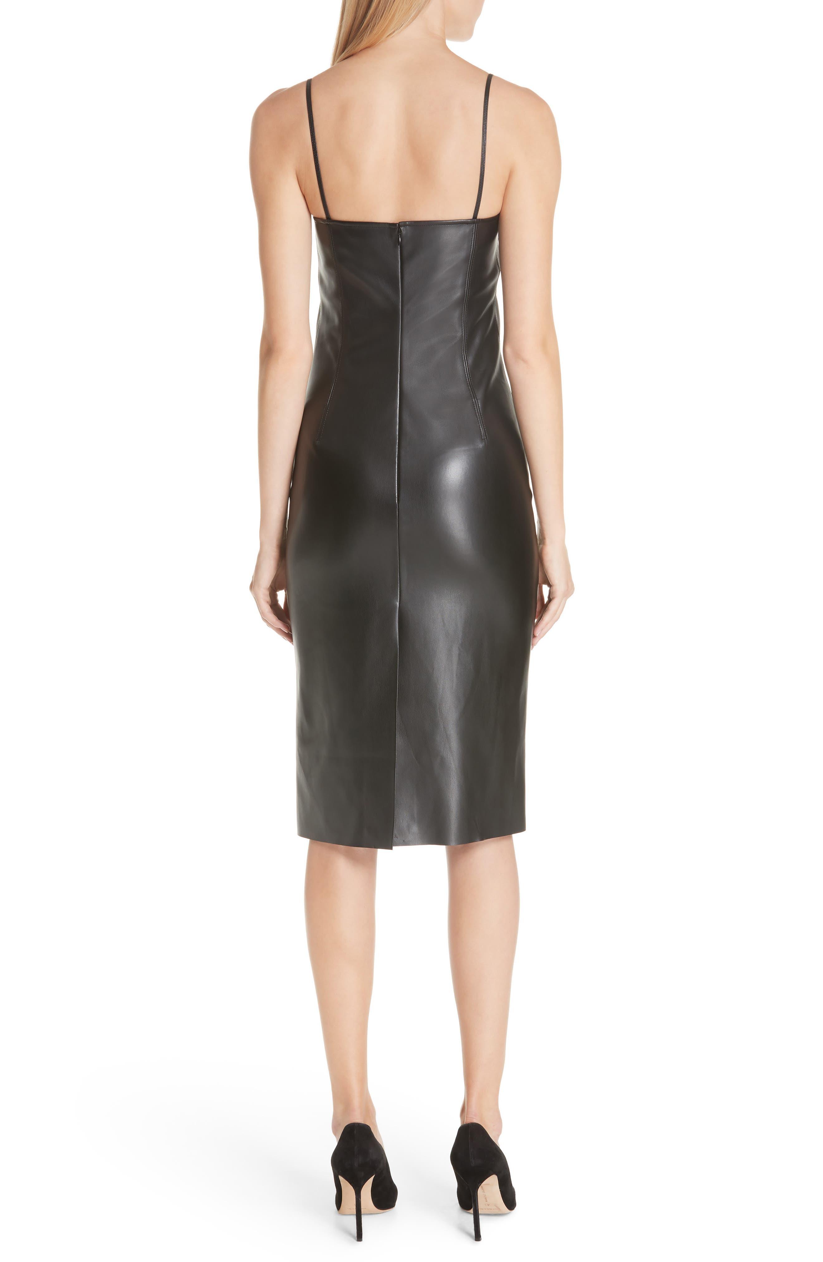Bedford Faux Leather Slipdress,                             Alternate thumbnail 2, color,                             001