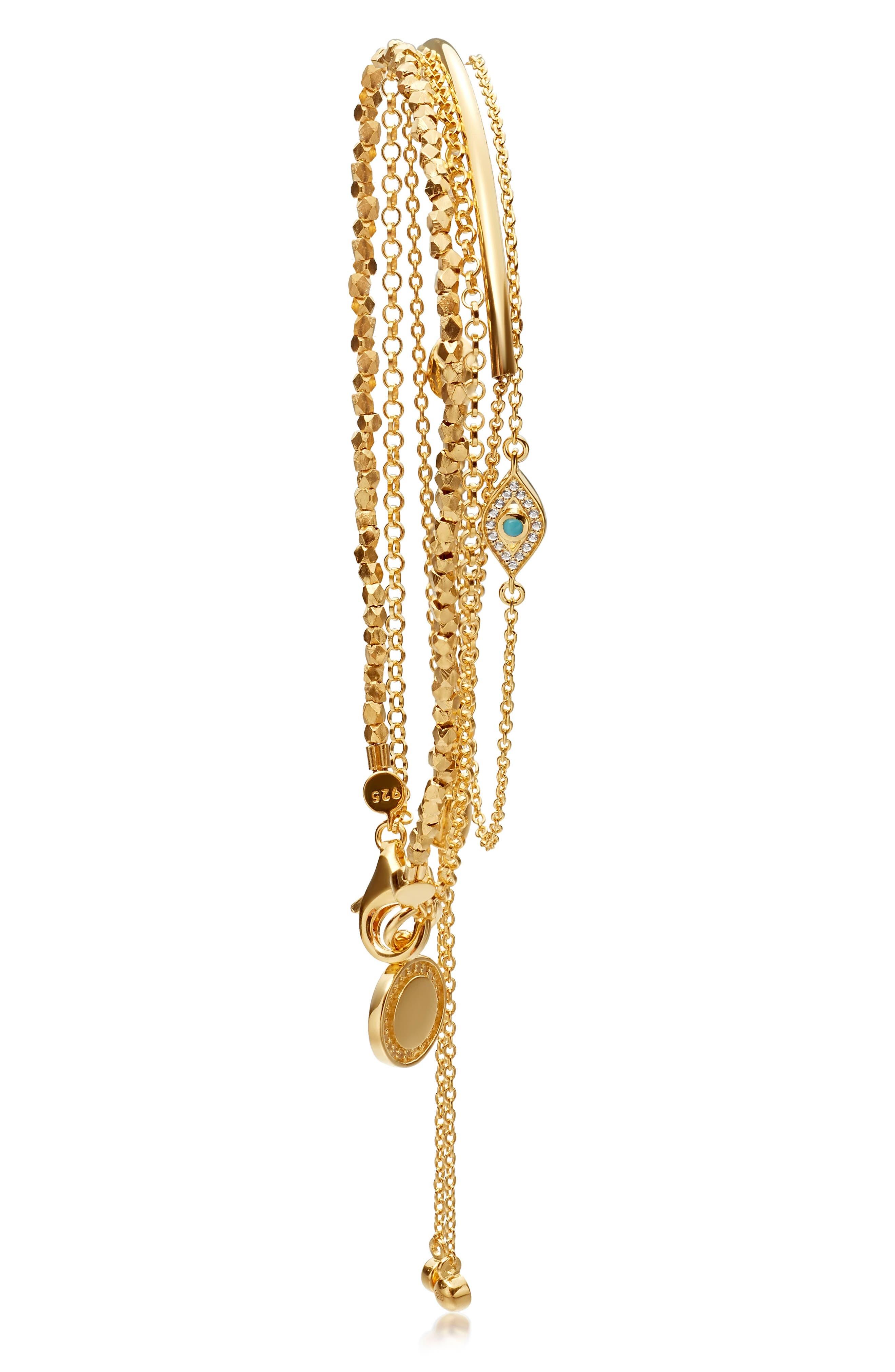 Evil Eye Stack Bracelet, Main, color, YELLOW GOLD