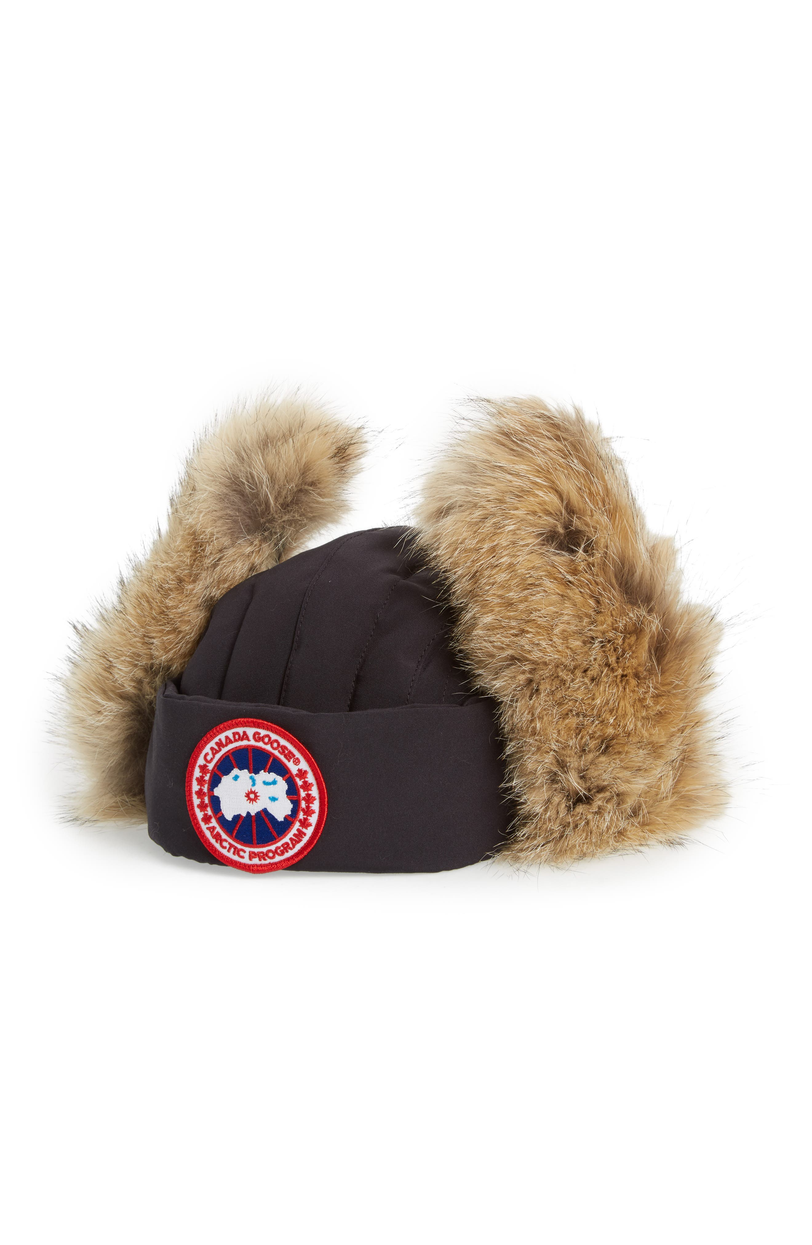 Down Fill Aviator Hat with Genuine Coyote Fur Trim,                             Alternate thumbnail 2, color,                             410