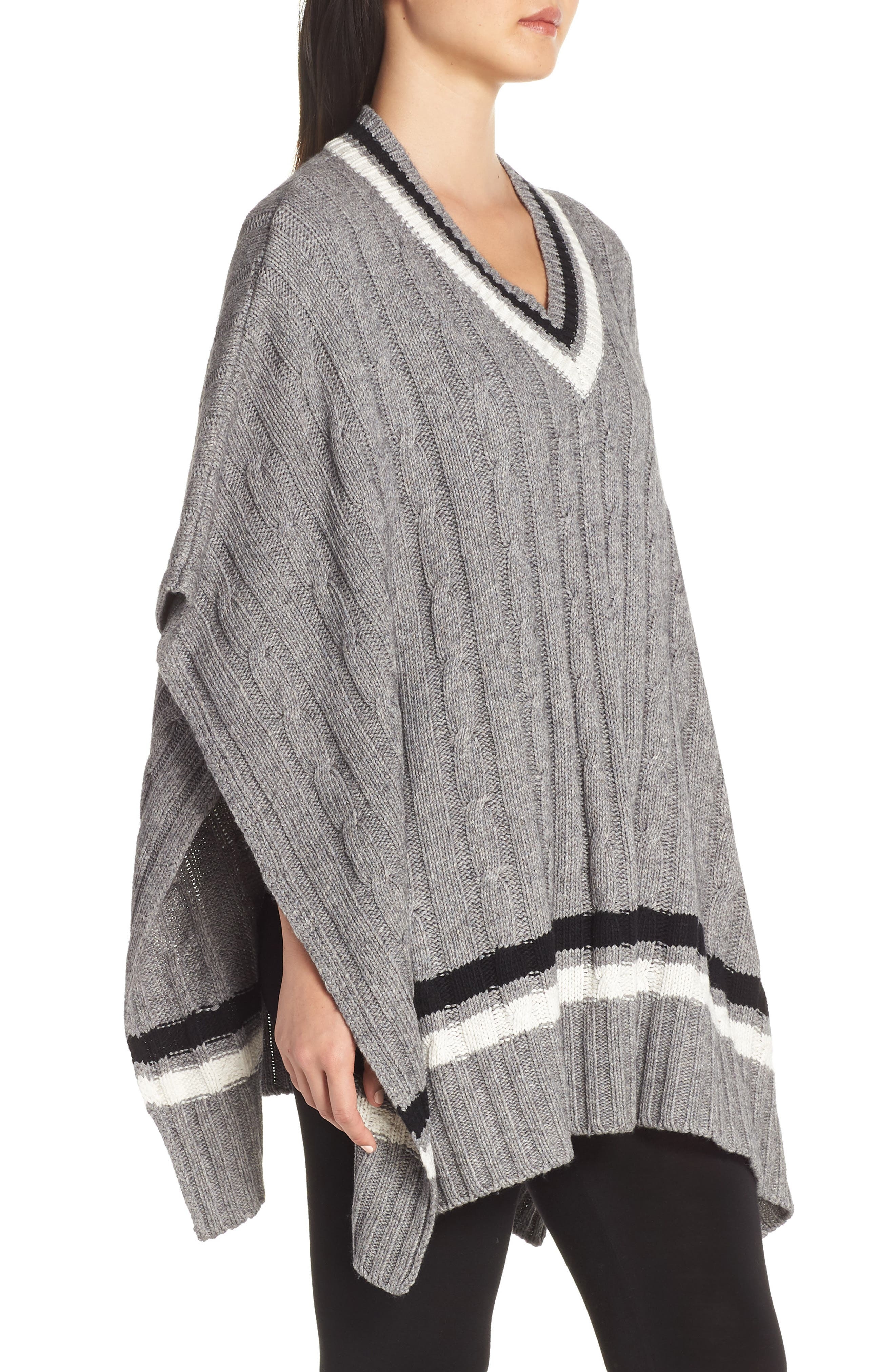 Weslynn Poncho Sweater,                             Alternate thumbnail 3, color,                             GREY HEATHER