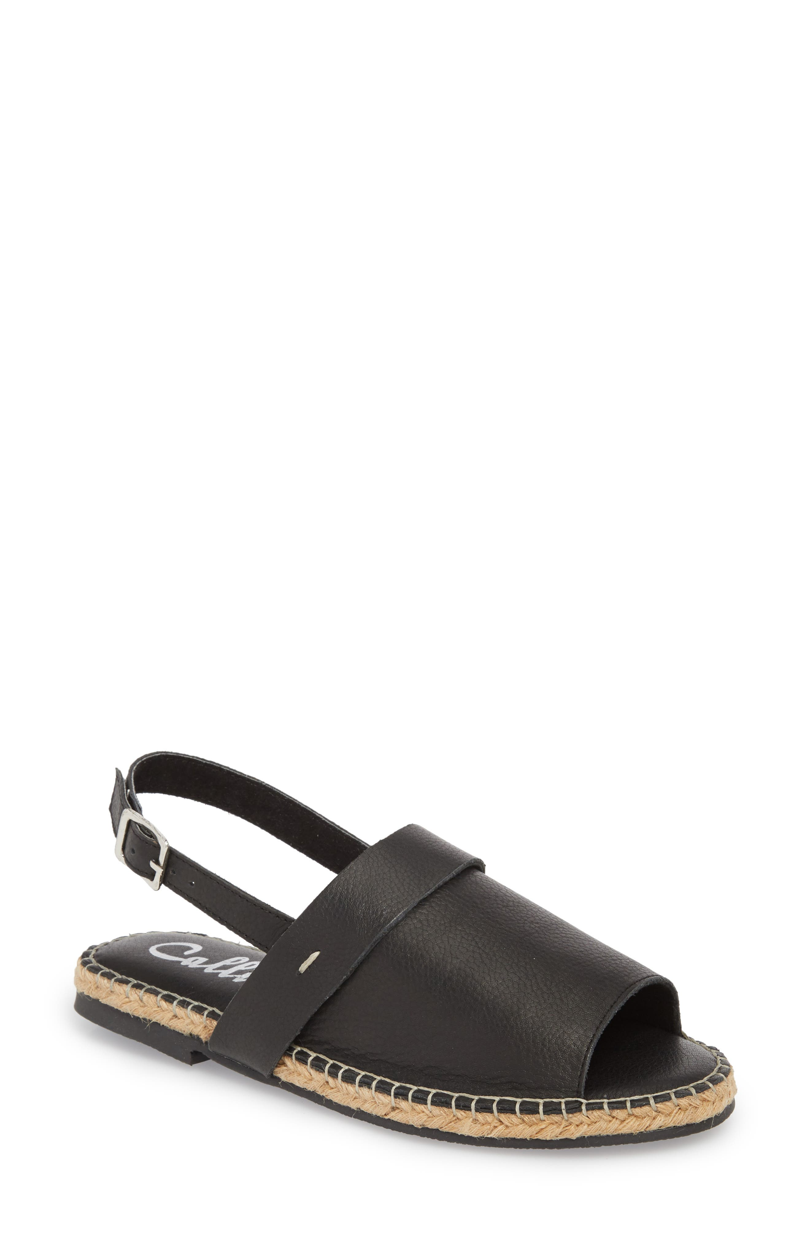 Turn Key Espadrille Sandal,                             Main thumbnail 1, color,                             BLACK LEATHER