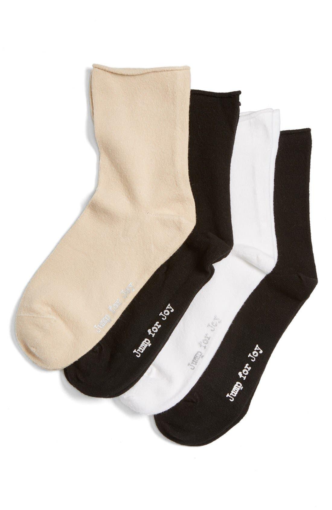 HUE,                             Jump for Joy 4-Pack Roll Ankle Socks,                             Main thumbnail 1, color,                             100