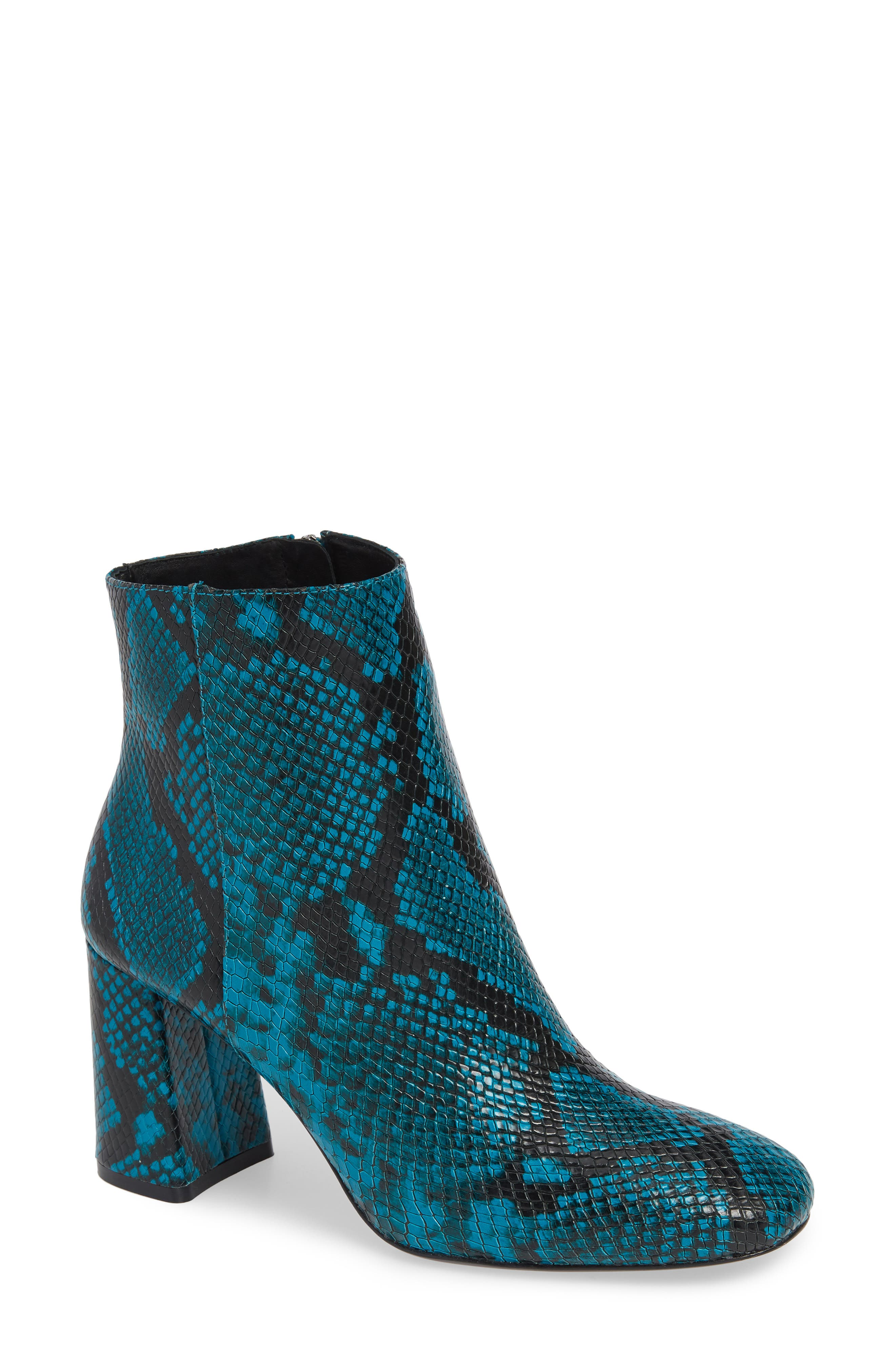 Dobrey Snake Embossed Booties,                             Main thumbnail 1, color,                             TEAL
