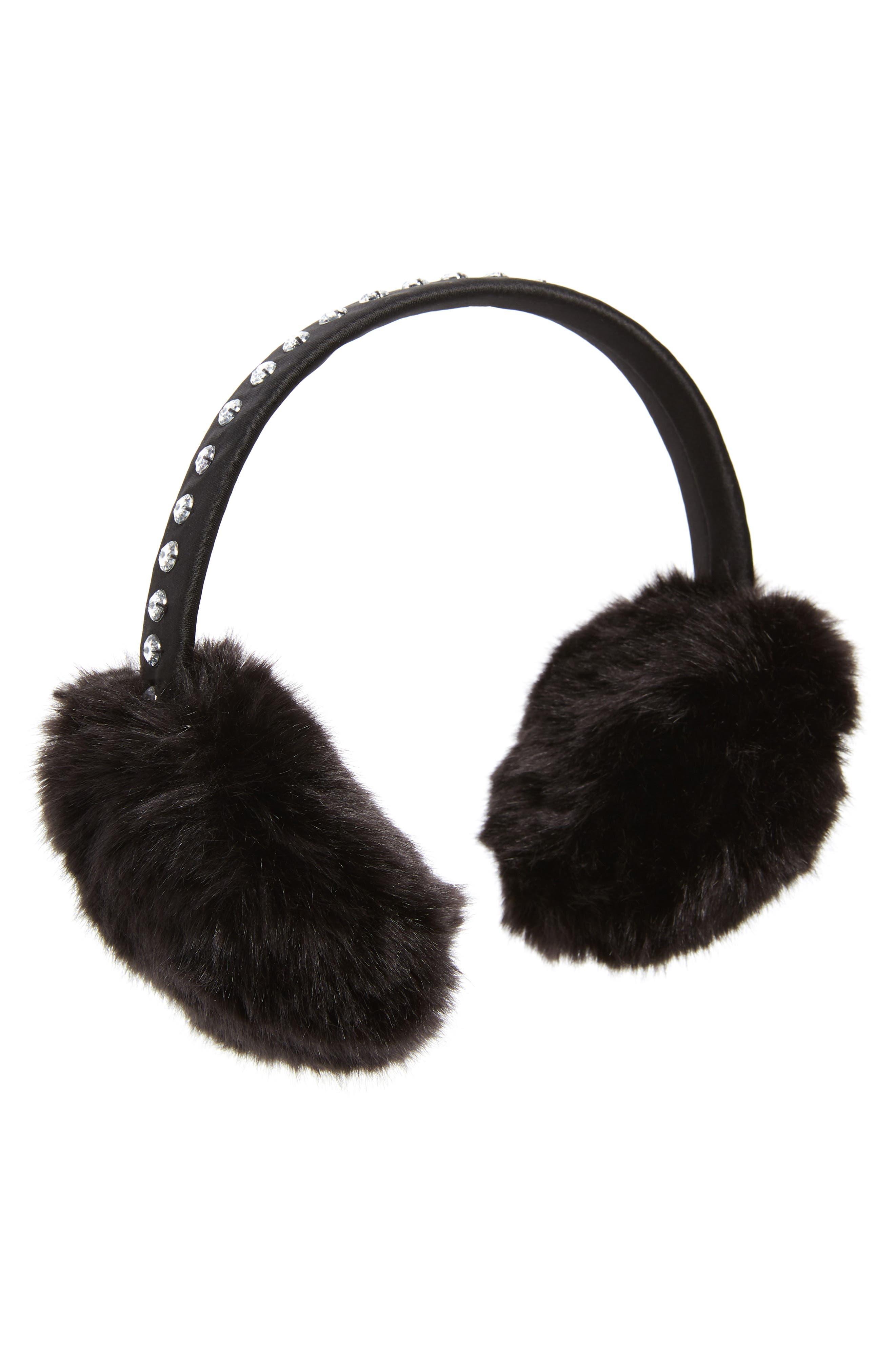 bedazzled faux fur earmuffs,                         Main,                         color, BLACK