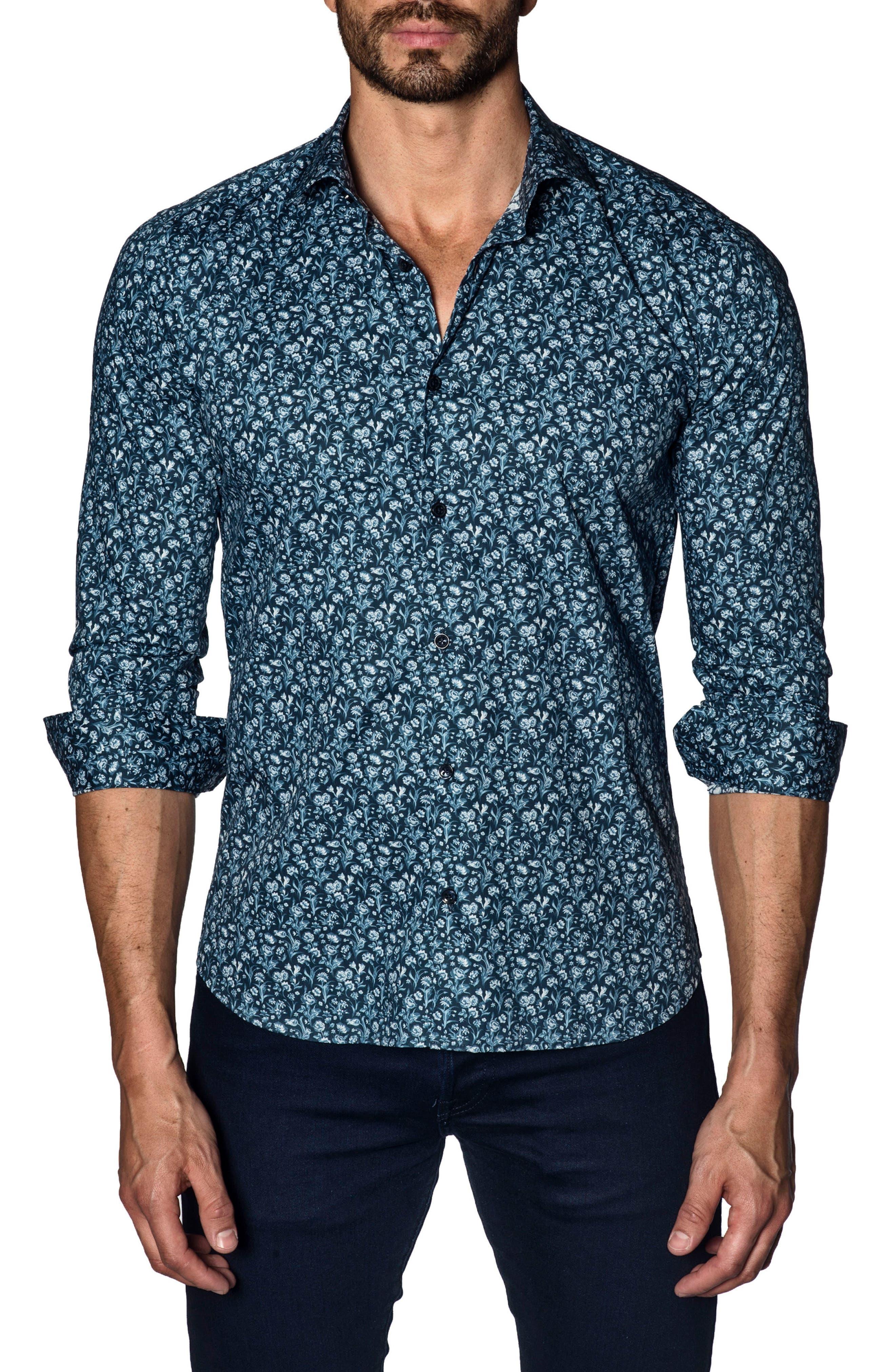 Trim Fit Sport Shirt,                         Main,                         color, BLUE FLORAL
