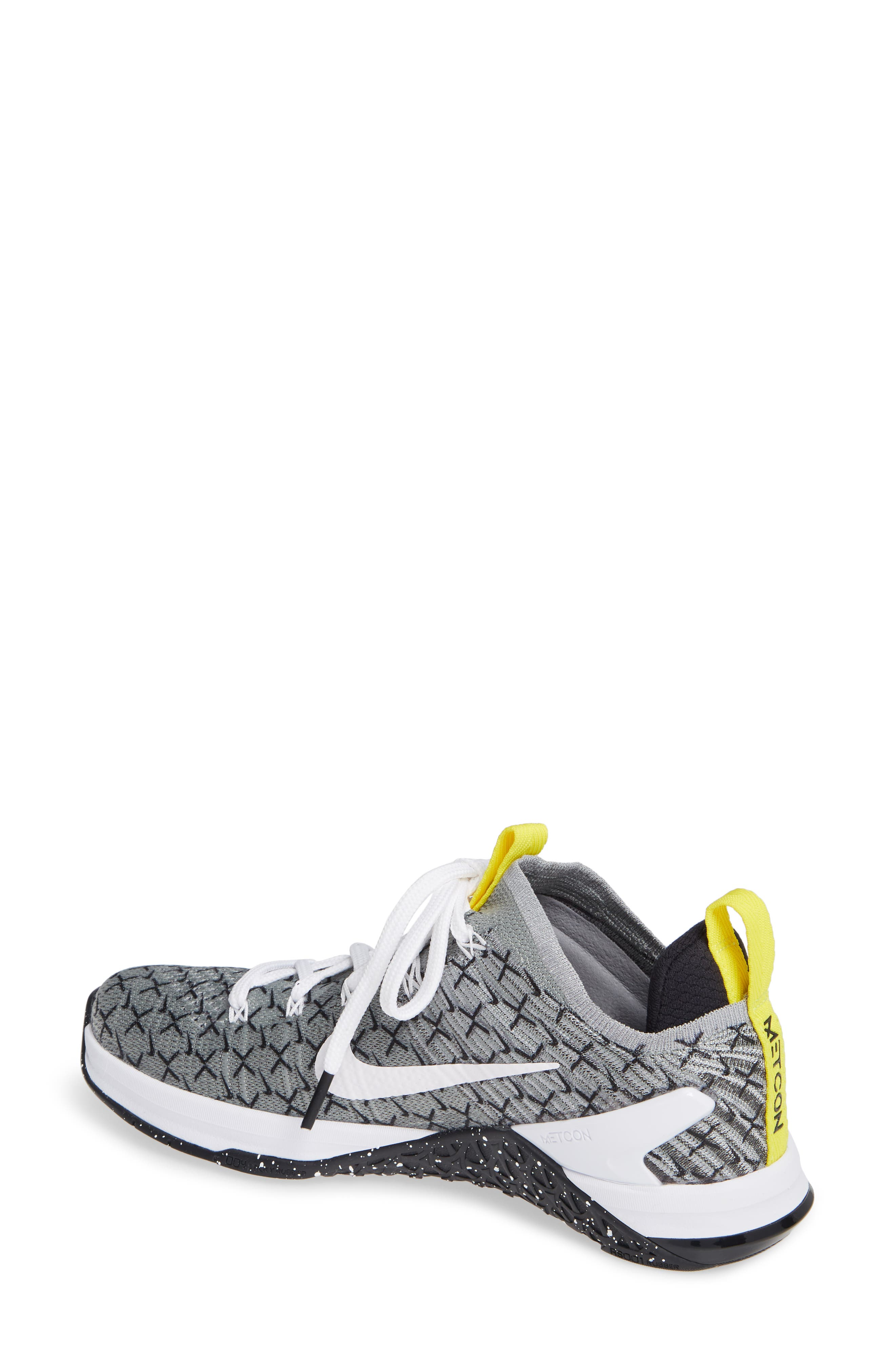 Metcon DSX Flyknit 2 Training Shoe,                             Alternate thumbnail 2, color,                             BLACK/ WHITE/ DYNAMIC YELLOW