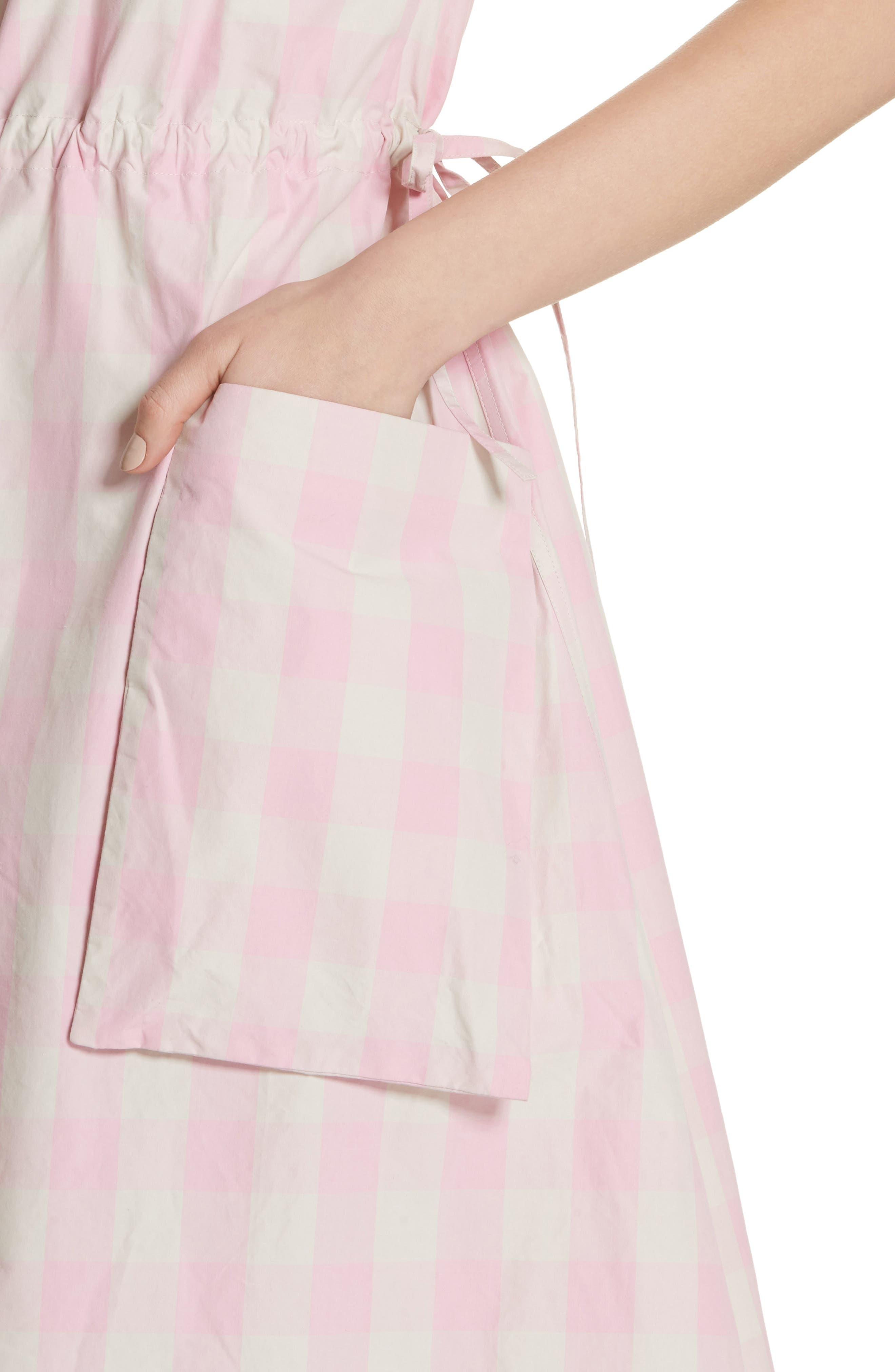 Gathered Waist Gingham Dress,                             Alternate thumbnail 4, color,                             650