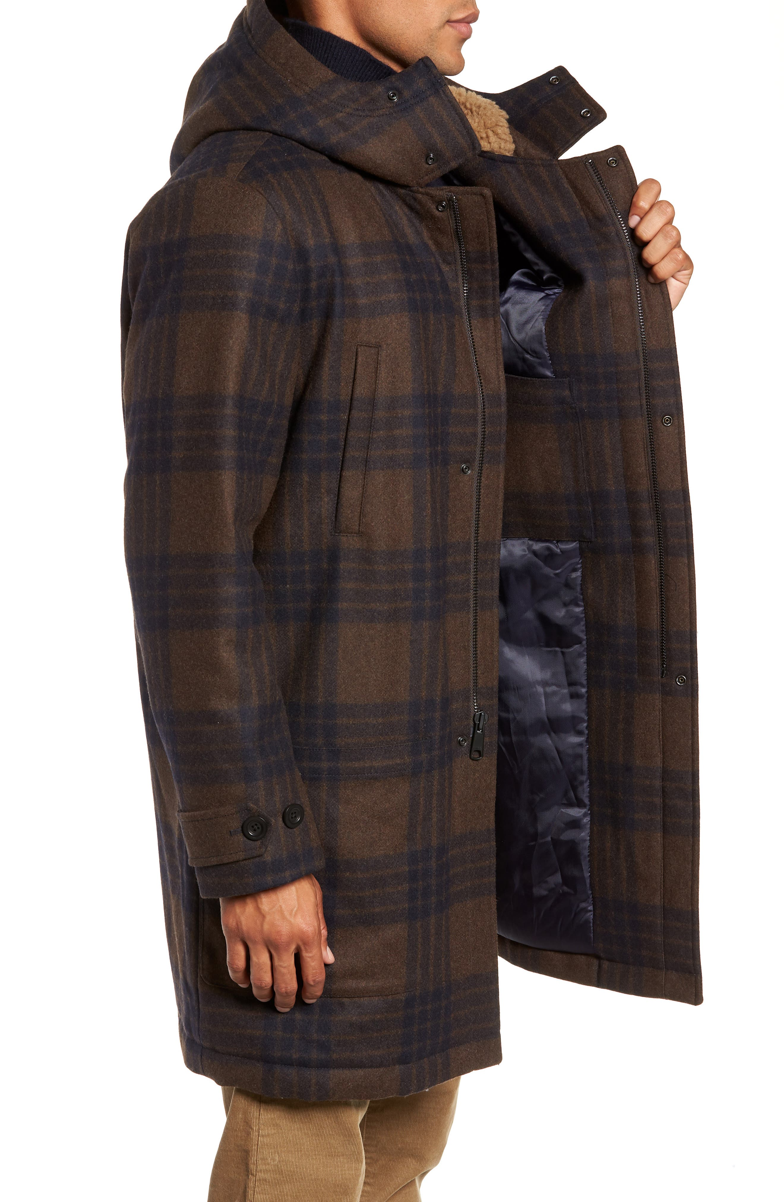 Plaid Duffle Coat with Faux Shearling Trim,                             Alternate thumbnail 3, color,                             H. REDWOOD